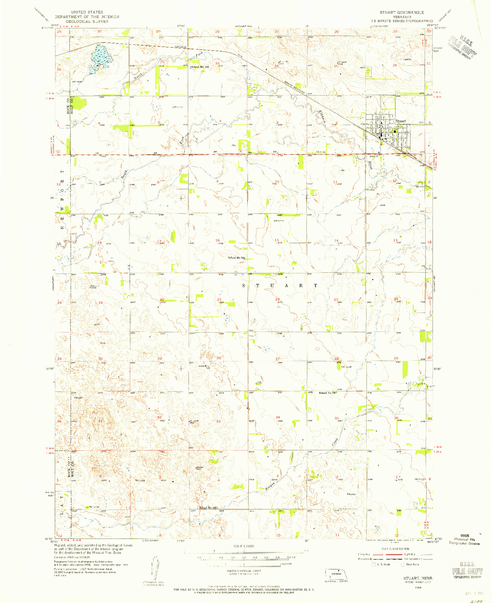 USGS 1:24000-SCALE QUADRANGLE FOR STUART, NE 1954