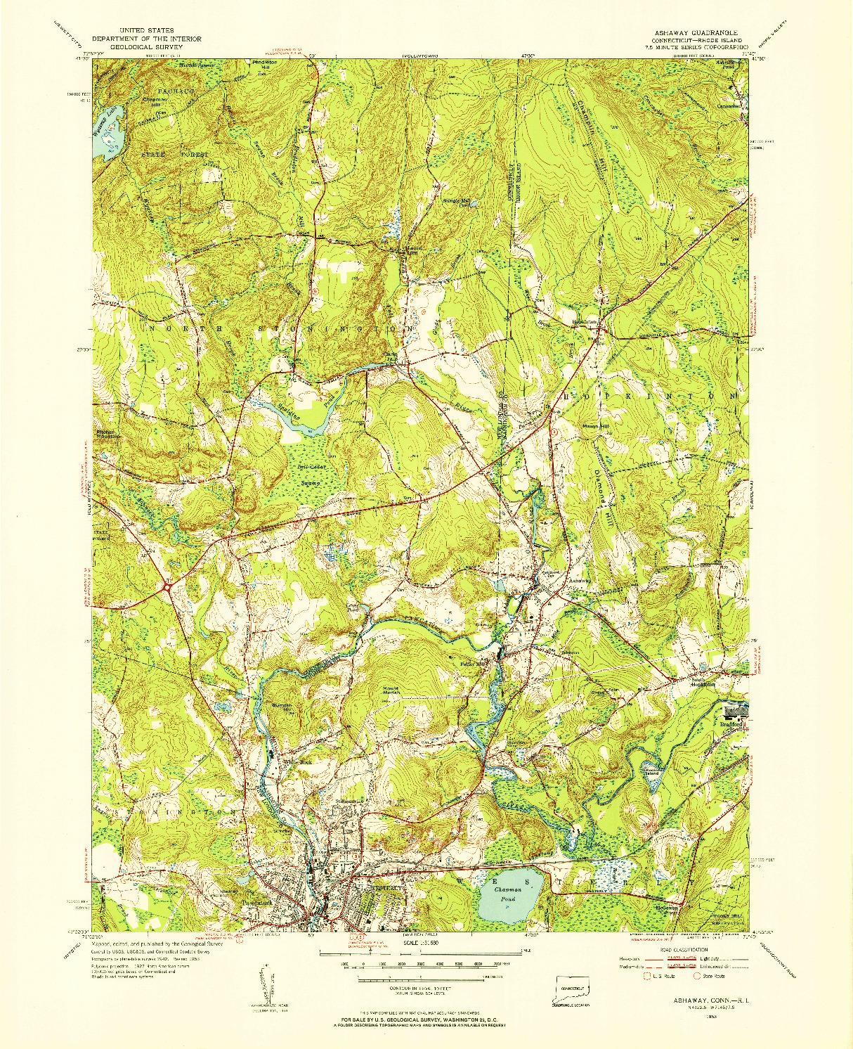 USGS 1:31680-SCALE QUADRANGLE FOR ASHAWAY, CT 1953
