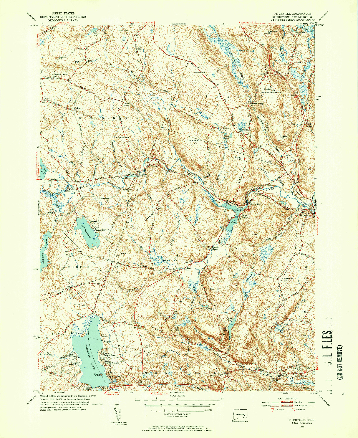USGS 1:31680-SCALE QUADRANGLE FOR FITCHVILLE, CT 1953