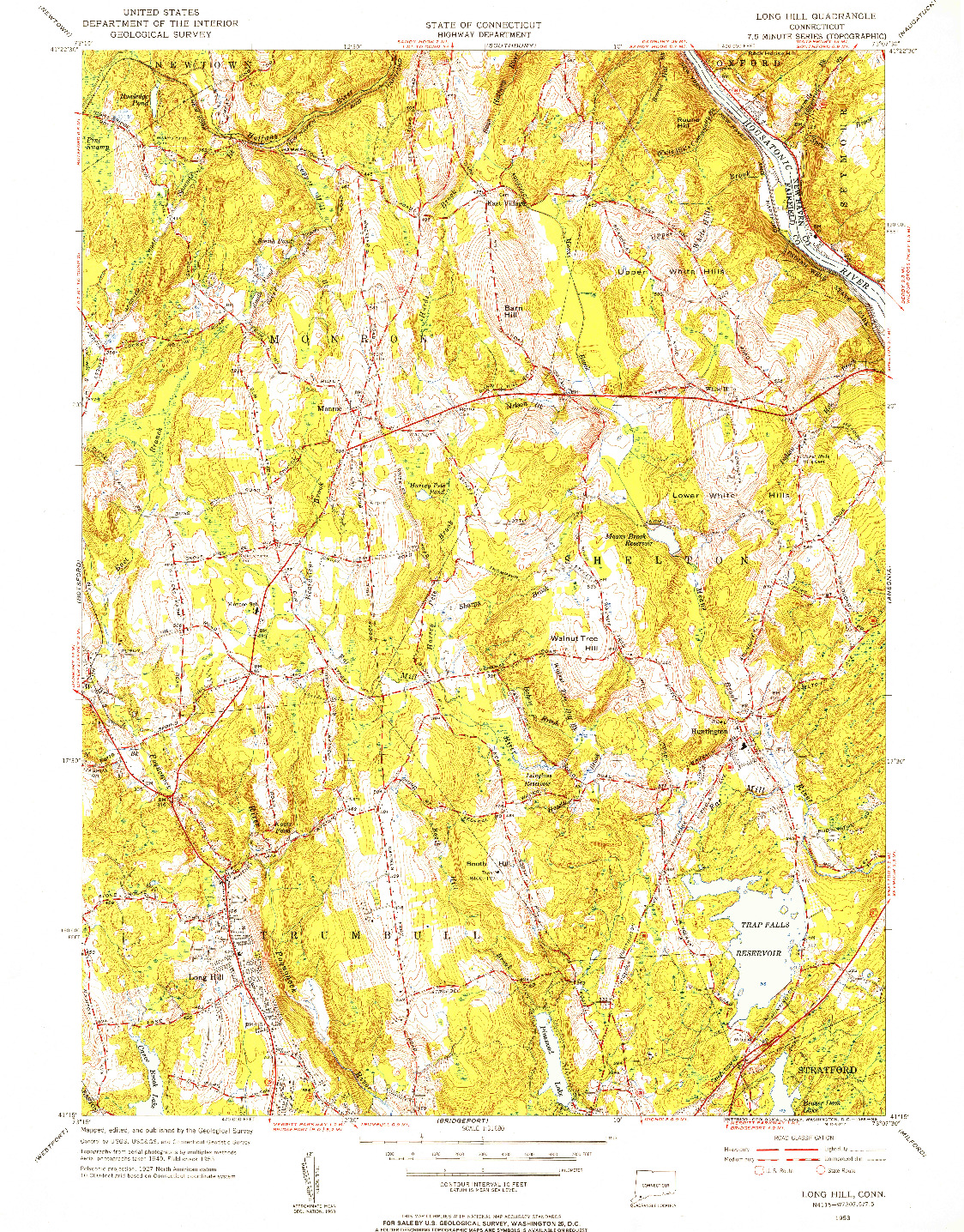 USGS 1:31680-SCALE QUADRANGLE FOR LONG HILL, CT 1953