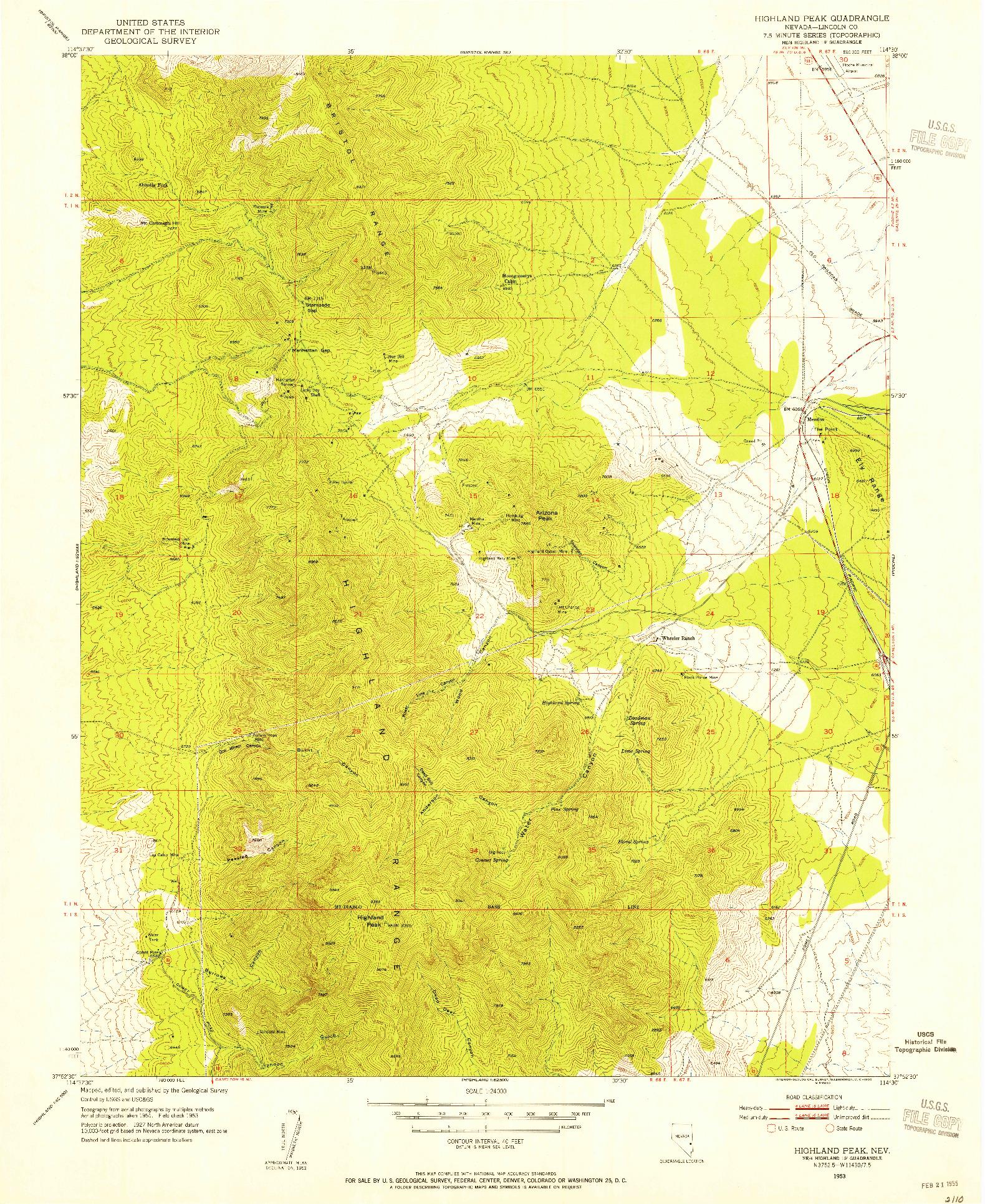 USGS 1:24000-SCALE QUADRANGLE FOR HIGHLAND PEAK, NV 1953