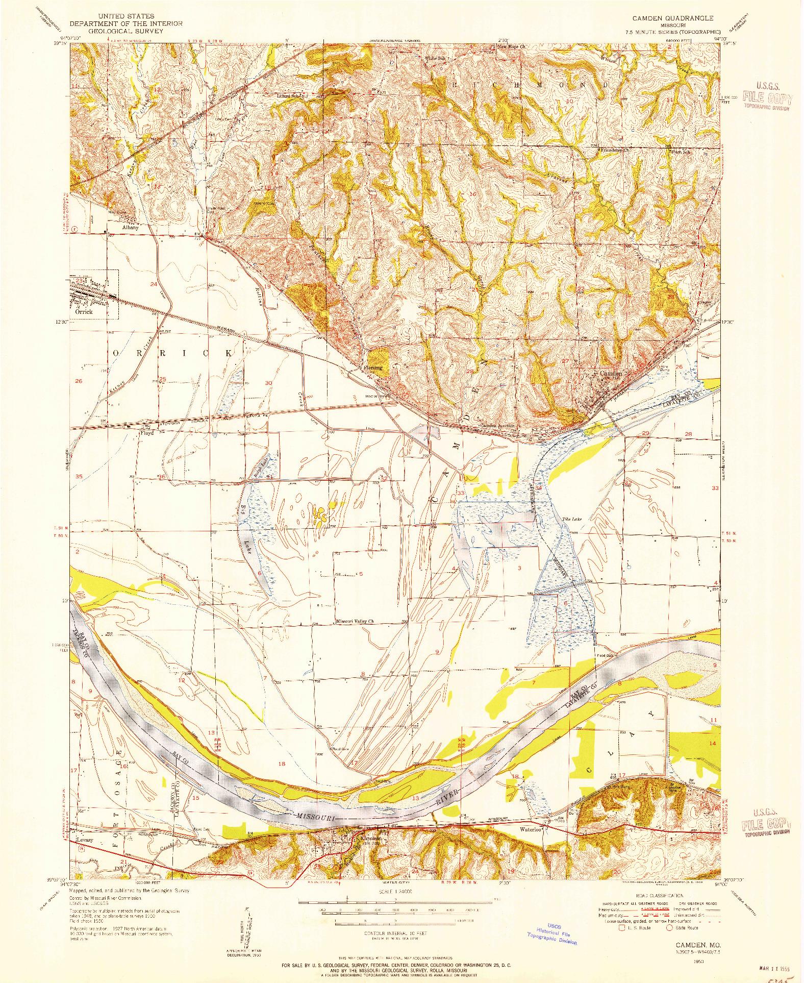 USGS 1:24000-SCALE QUADRANGLE FOR CAMDEN, MO 1950