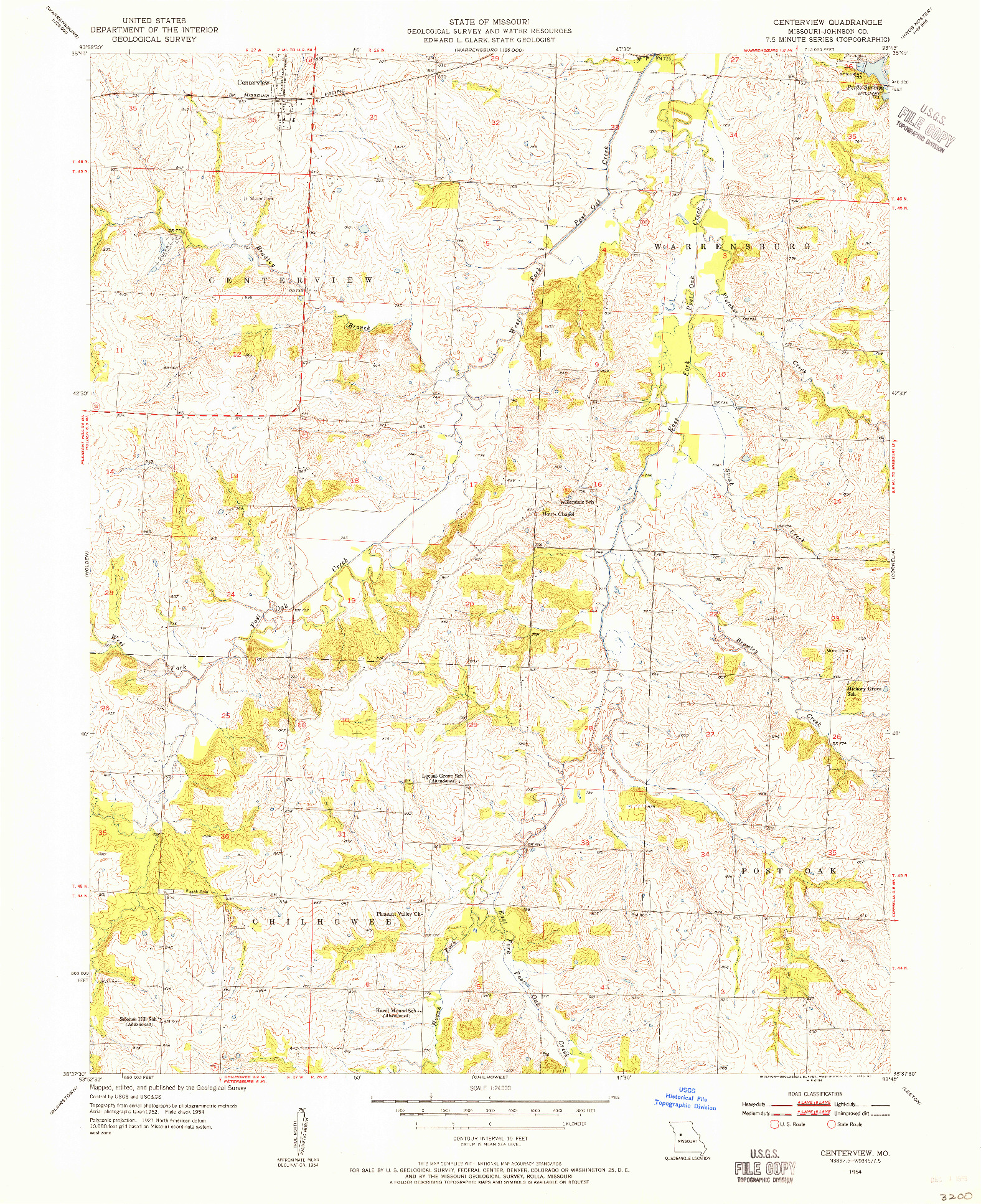 USGS 1:24000-SCALE QUADRANGLE FOR CENTERVIEW, MO 1954