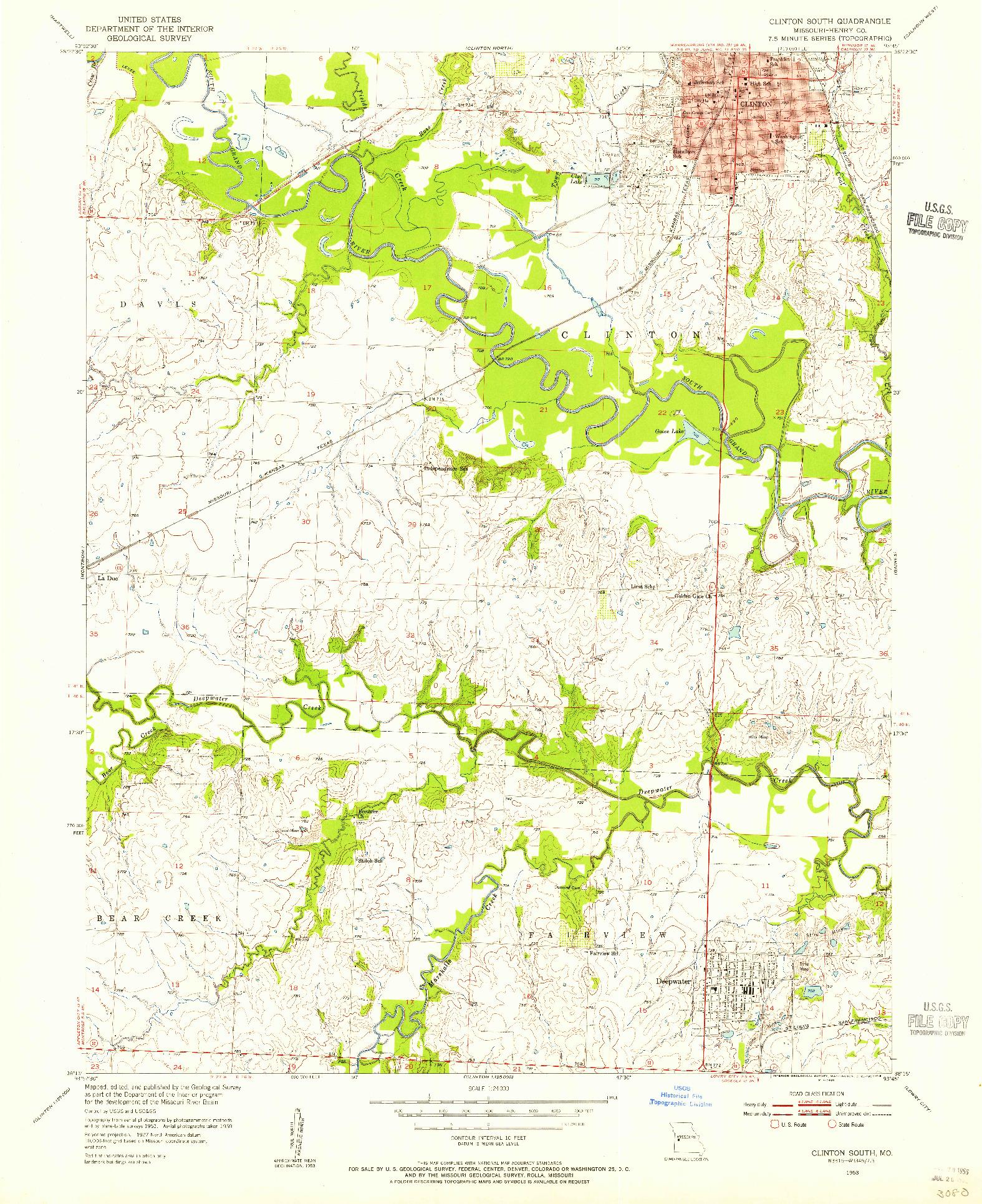 USGS 1:24000-SCALE QUADRANGLE FOR CLINTON SOUTH, MO 1953