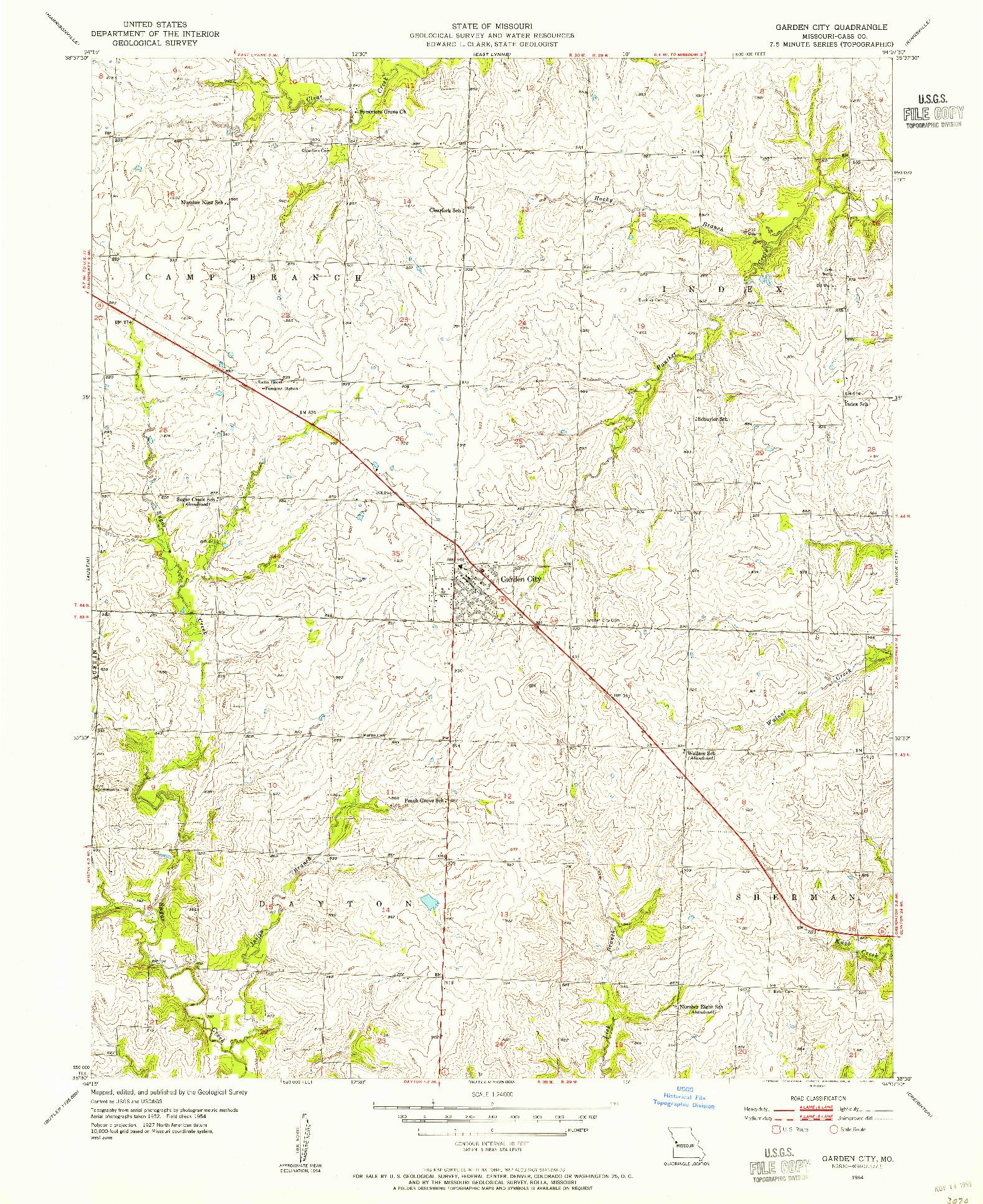 USGS 1:24000-SCALE QUADRANGLE FOR GARDEN CITY, MO 1954