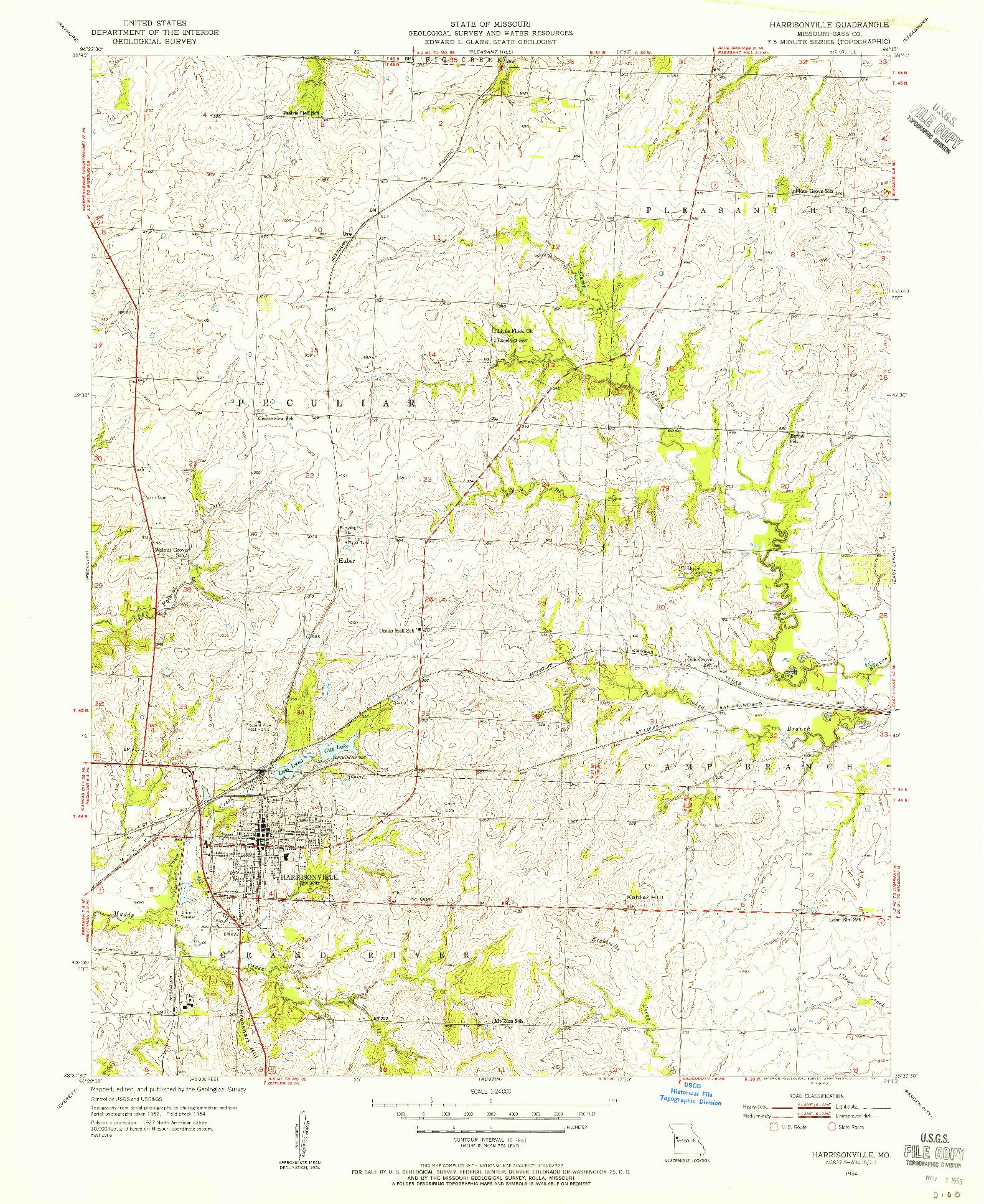 USGS 1:24000-SCALE QUADRANGLE FOR HARRISONVILLE, MO 1954