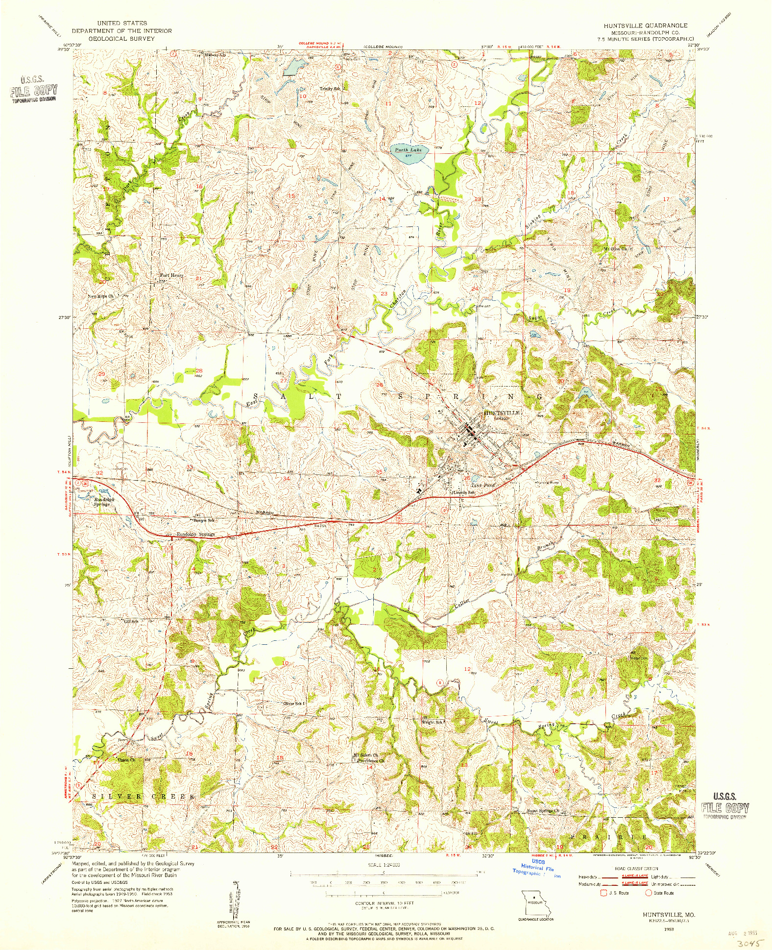 USGS 1:24000-SCALE QUADRANGLE FOR HUNTSVILLE, MO 1953