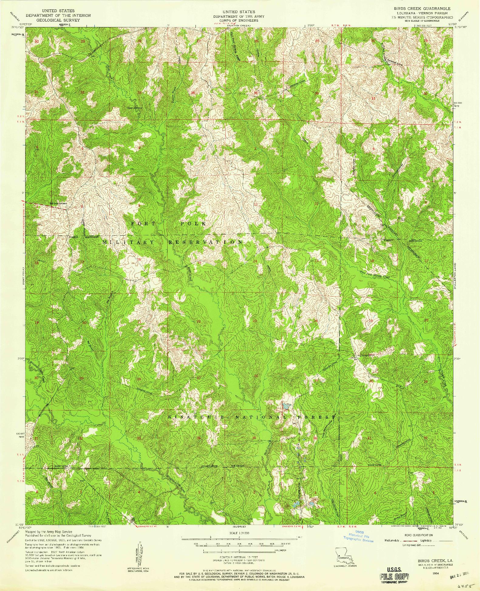 USGS 1:24000-SCALE QUADRANGLE FOR BIRDS CREEK, LA 1954