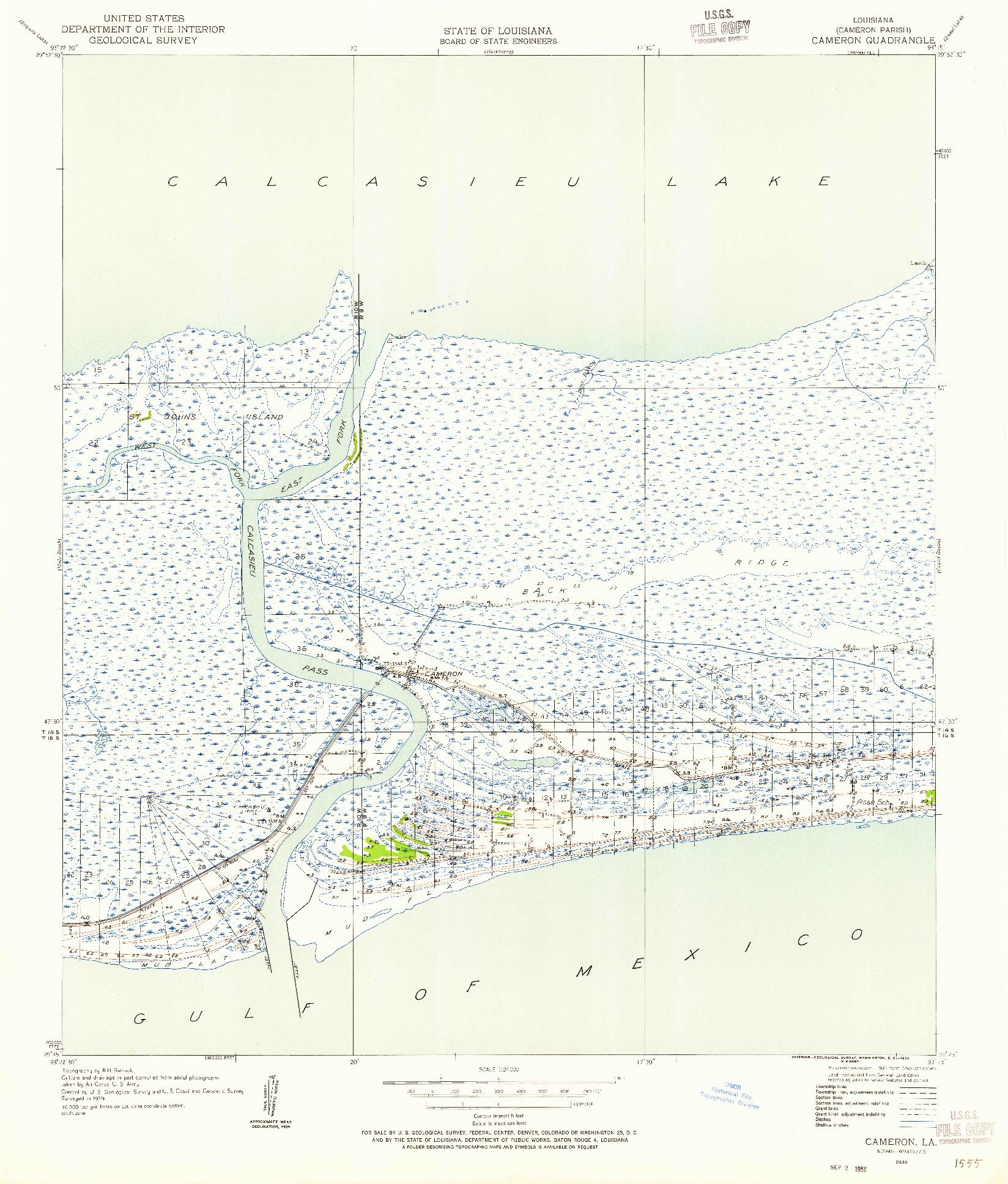 USGS 1:24000-SCALE QUADRANGLE FOR CAMERON, LA 1934