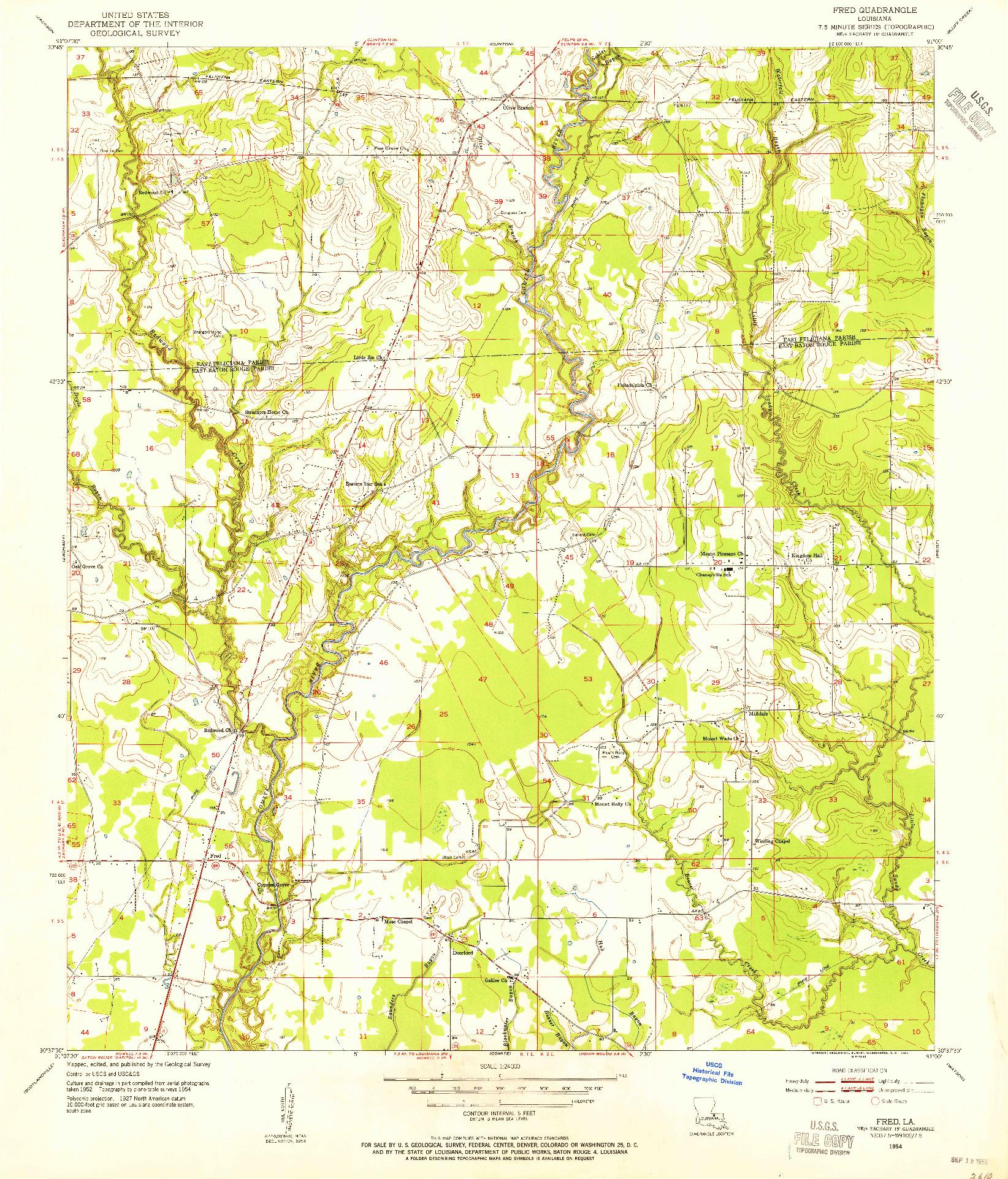 USGS 1:24000-SCALE QUADRANGLE FOR FRED, LA 1954