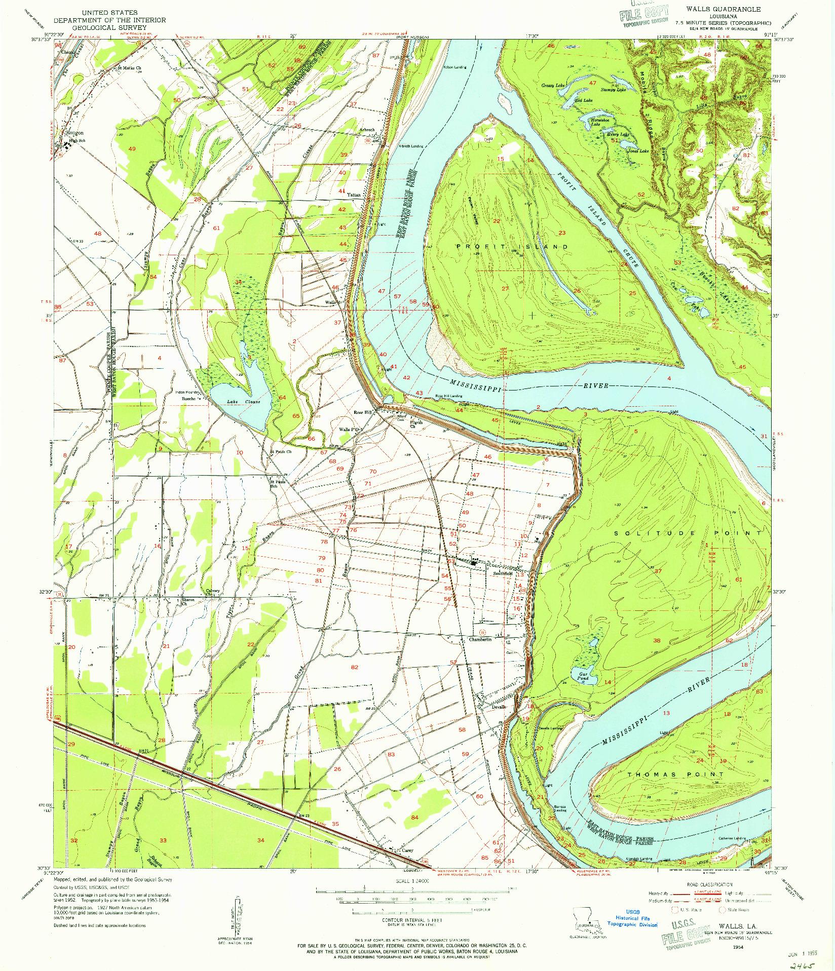 USGS 1:24000-SCALE QUADRANGLE FOR WALLS, LA 1954
