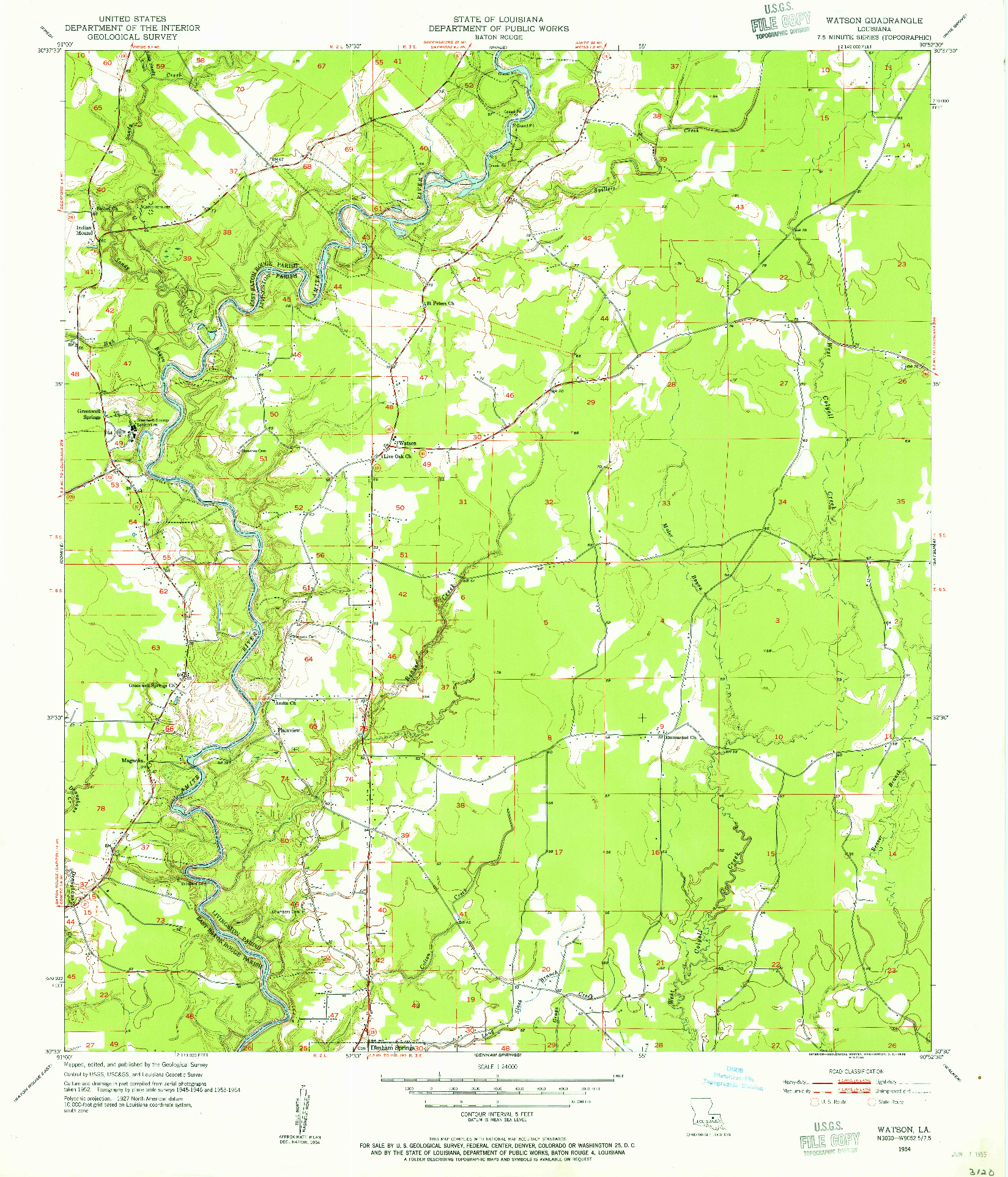 USGS 1:24000-SCALE QUADRANGLE FOR WATSON, LA 1954