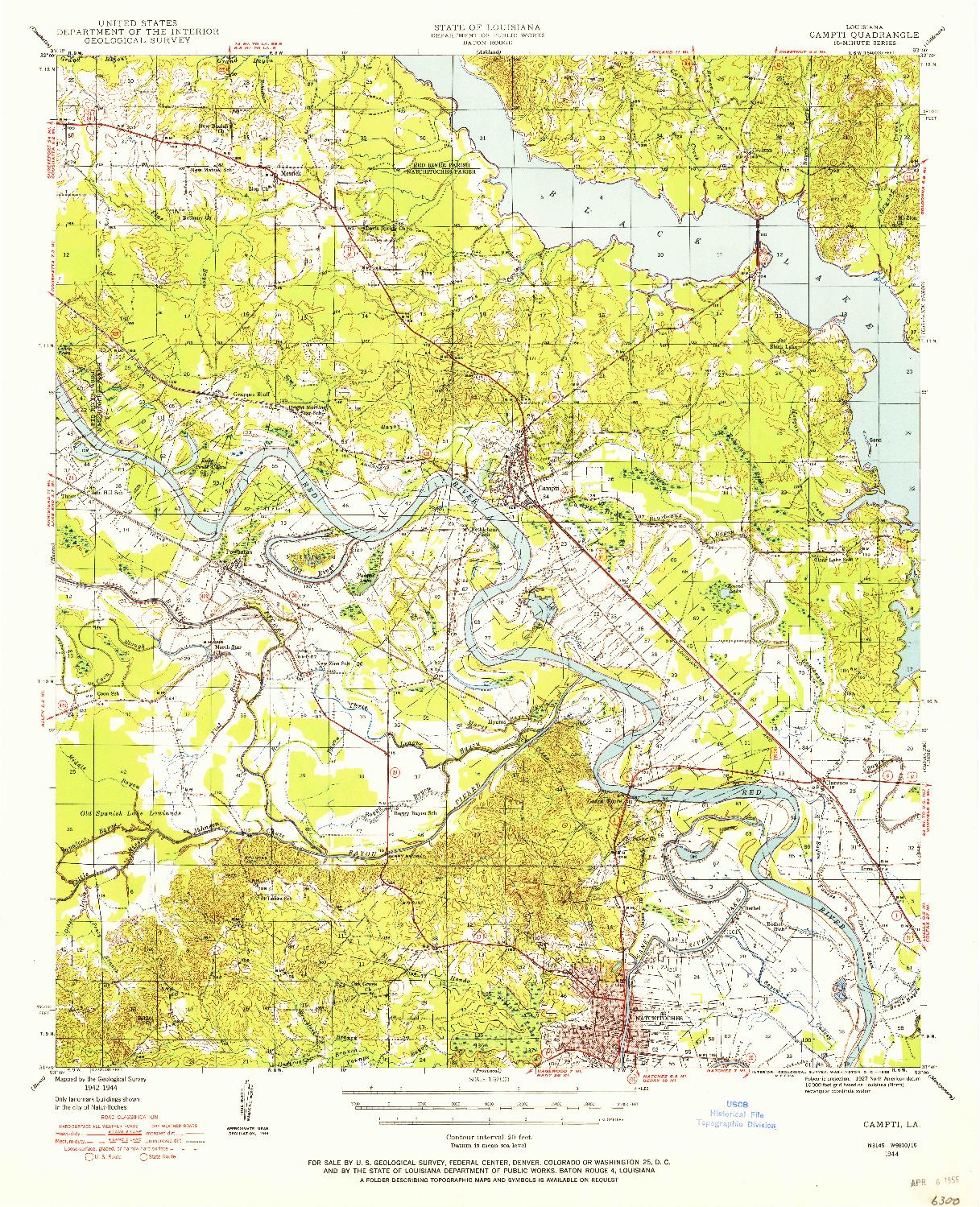 USGS 1:62500-SCALE QUADRANGLE FOR CAMPTI, LA 1944