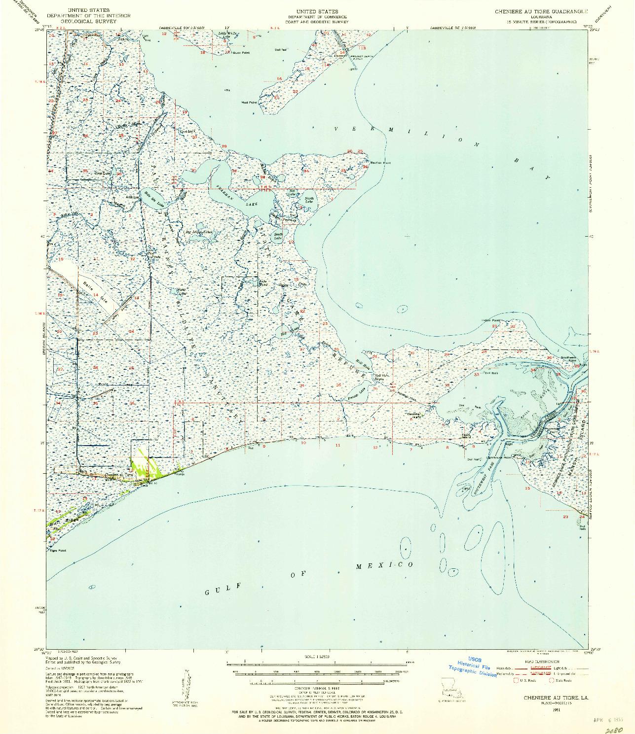 USGS 1:62500-SCALE QUADRANGLE FOR CHENIERE AU TIGRE, LA 1951