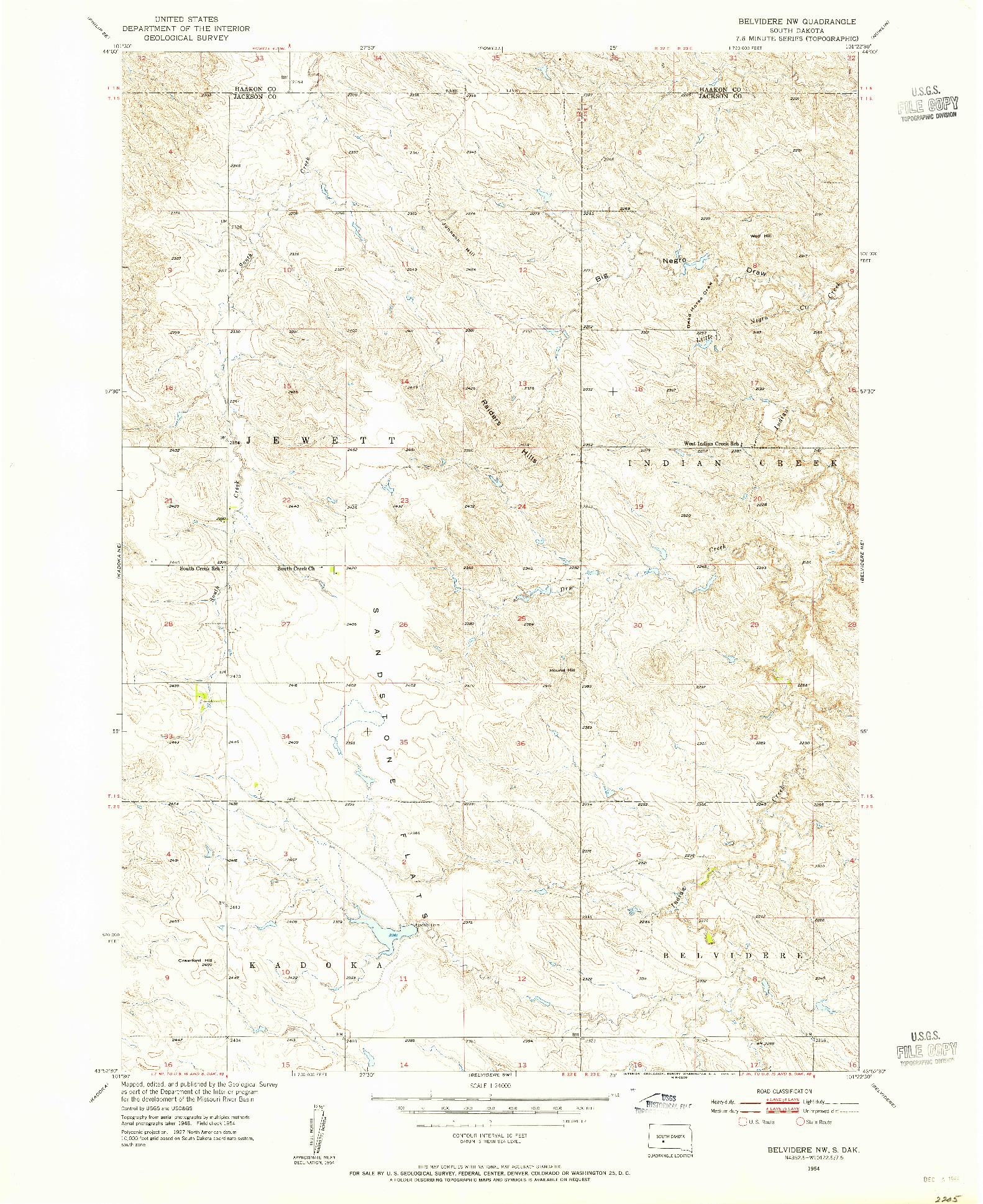 USGS 1:24000-SCALE QUADRANGLE FOR BELVIDERE NW, SD 1954