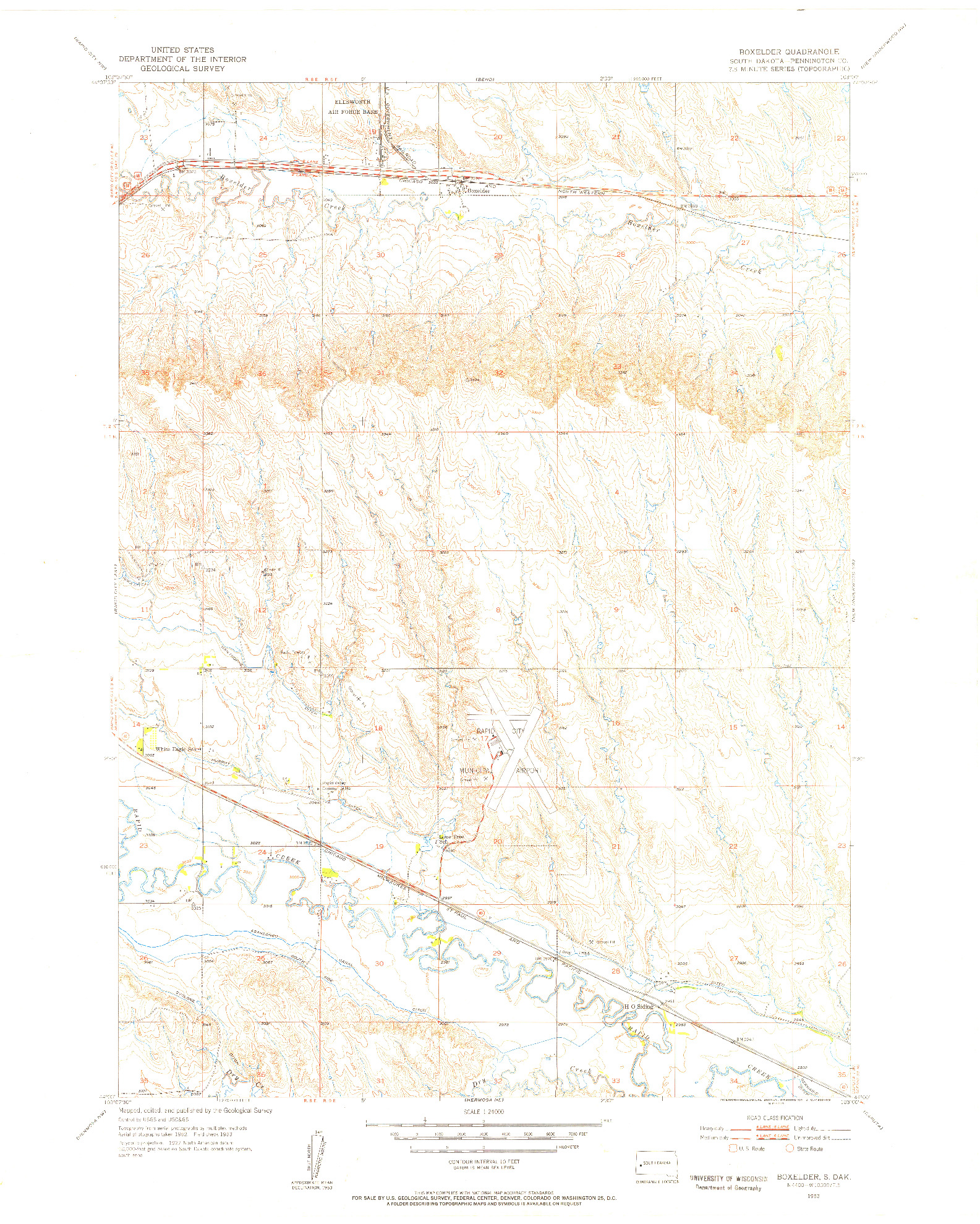 USGS 1:24000-SCALE QUADRANGLE FOR BOX ELDER, SD 1953