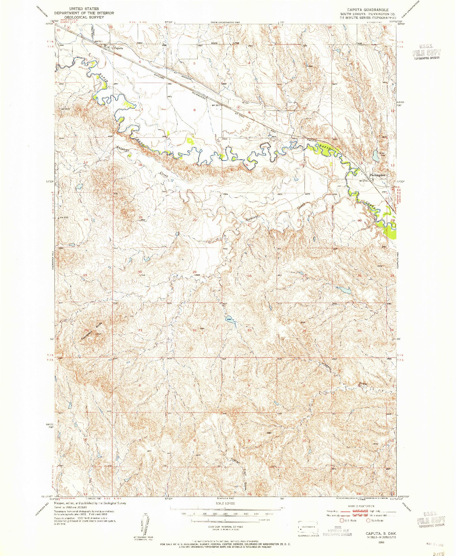 USGS 1:24000-SCALE QUADRANGLE FOR CAPUTA, SD 1953