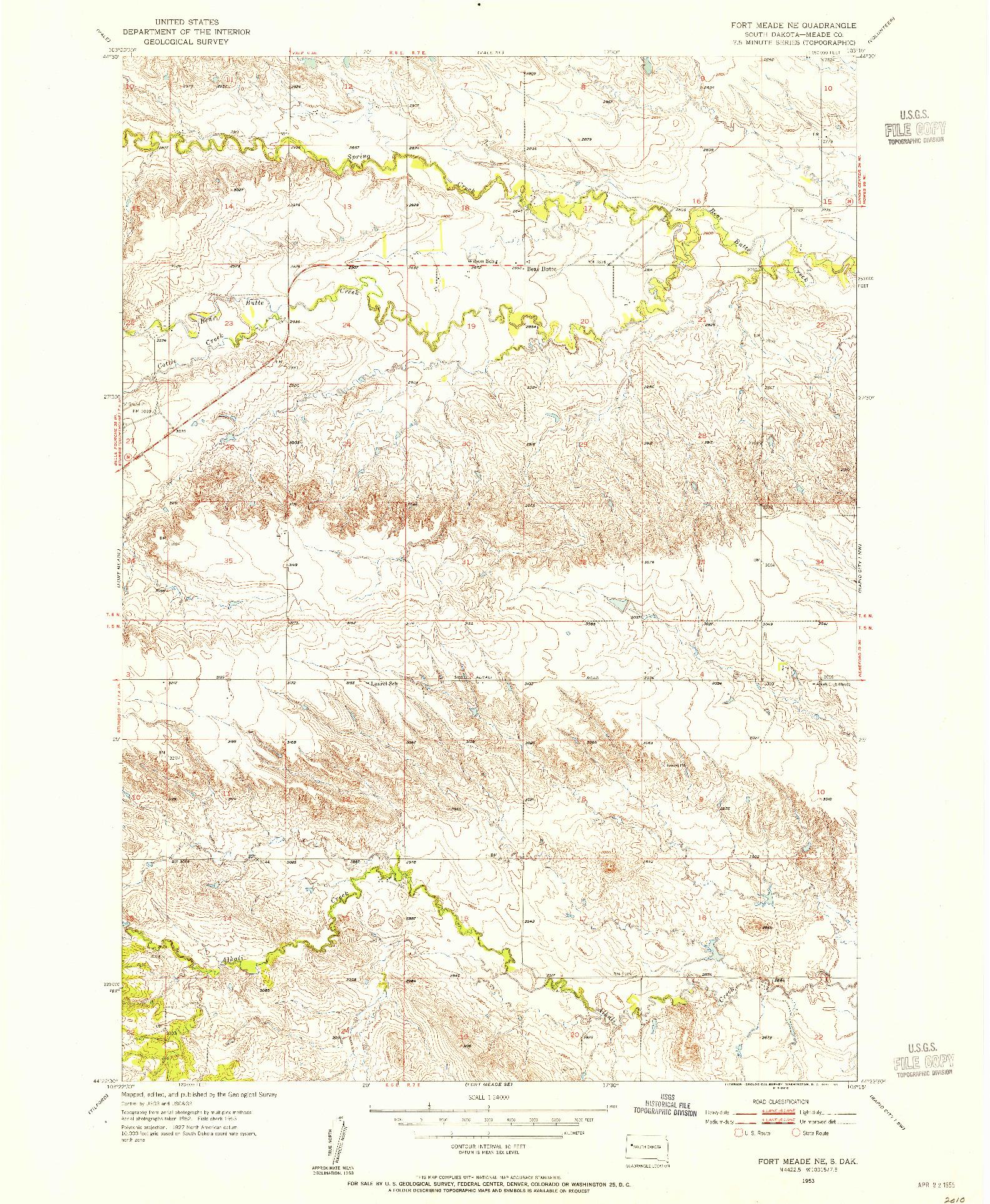 USGS 1:24000-SCALE QUADRANGLE FOR FORT MEADE NE, SD 1953