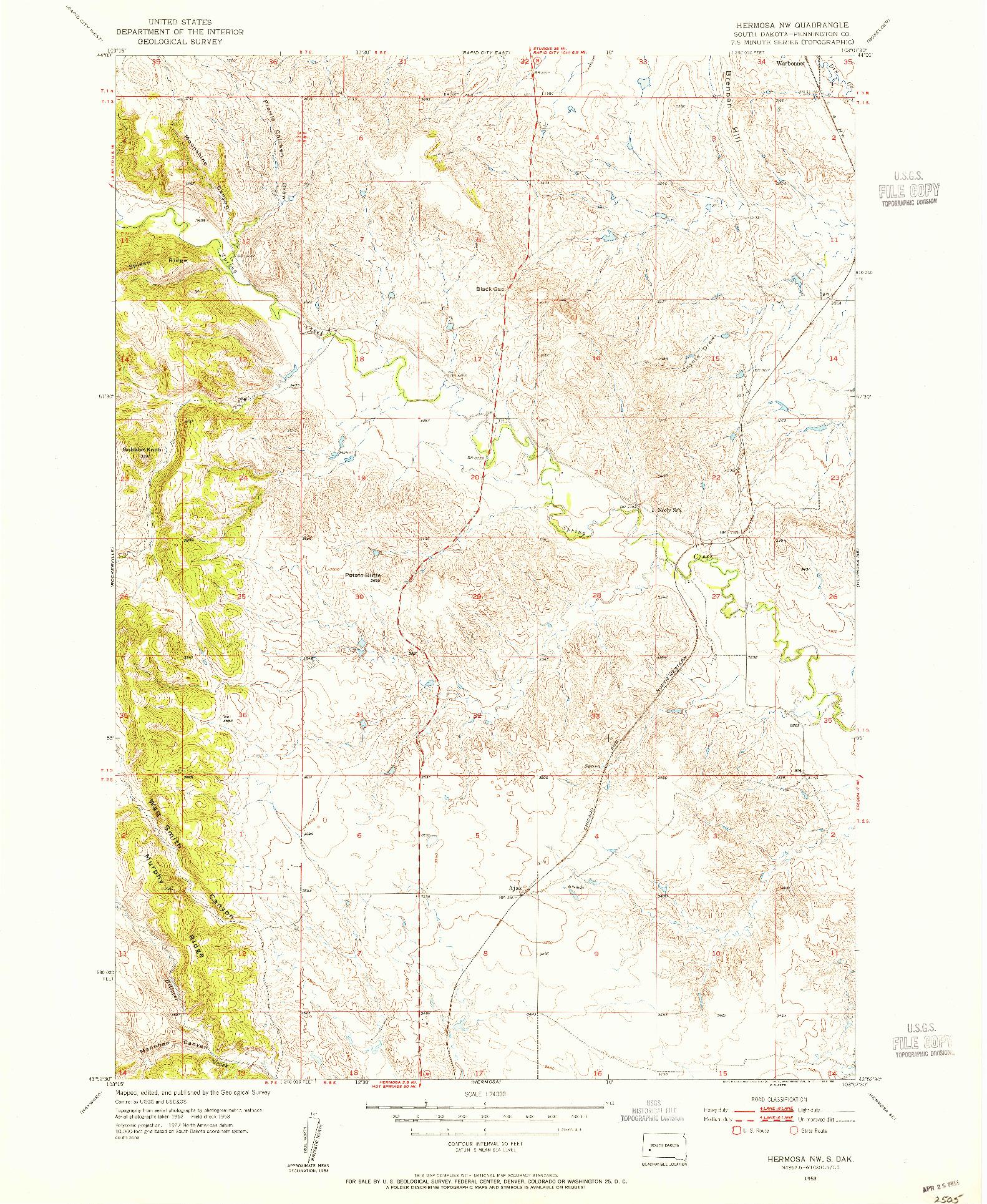 USGS 1:24000-SCALE QUADRANGLE FOR HERMOSA NW, SD 1953