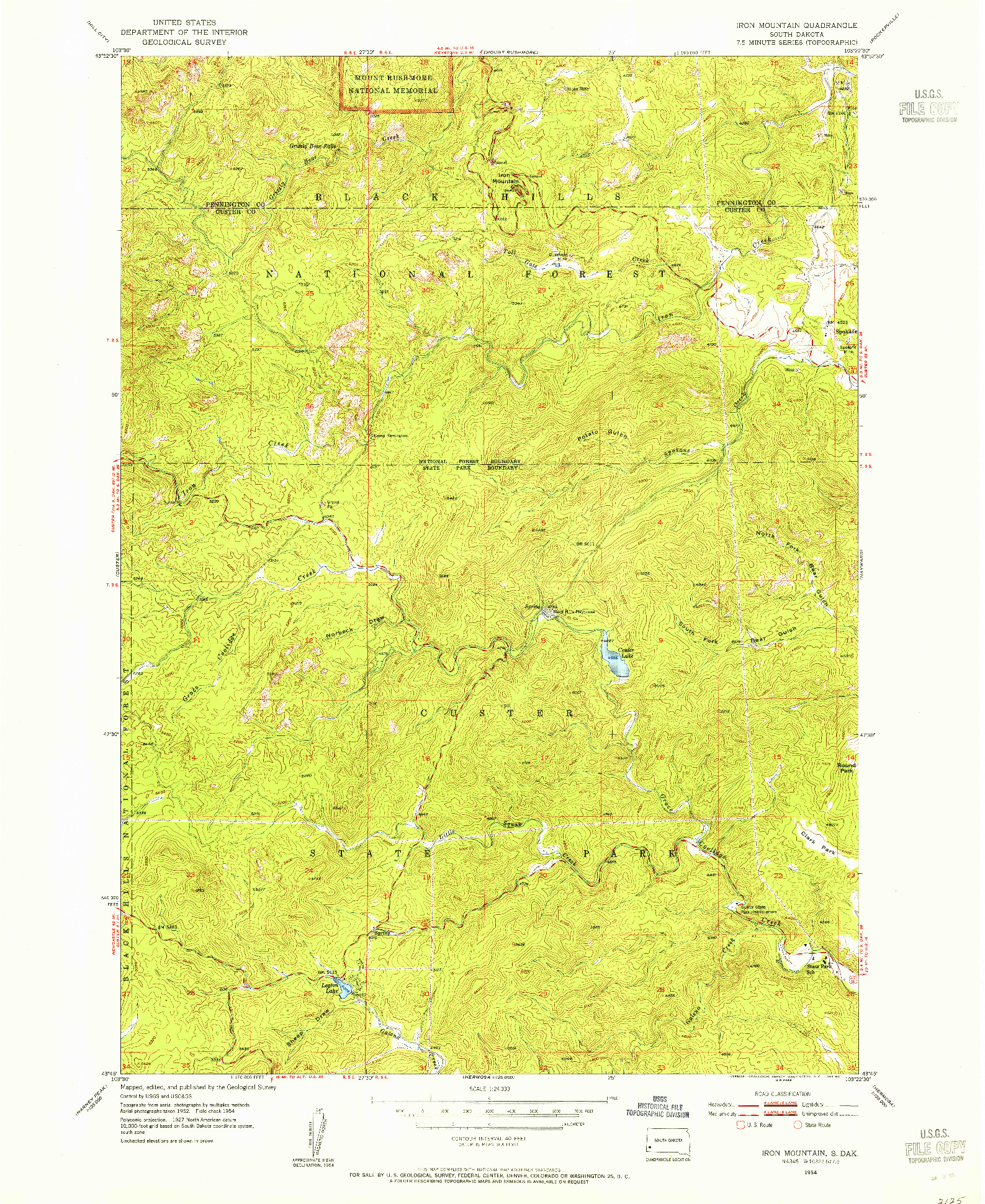 USGS 1:24000-SCALE QUADRANGLE FOR IRON MOUNTAIN, SD 1954