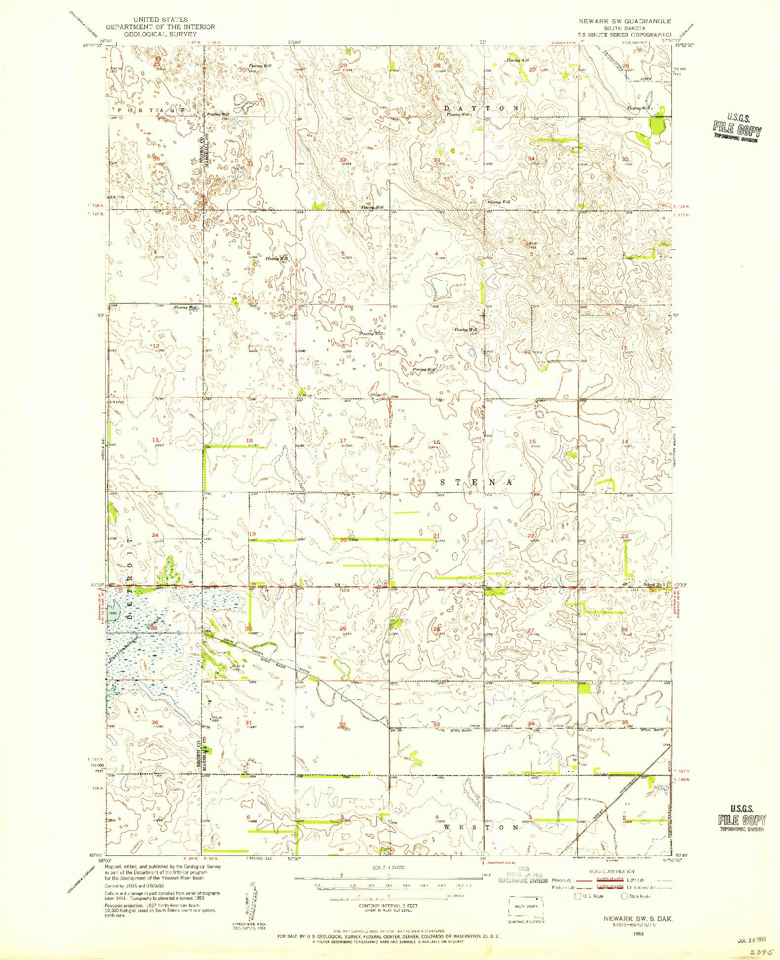 USGS 1:24000-SCALE QUADRANGLE FOR NEWARK SW, SD 1953