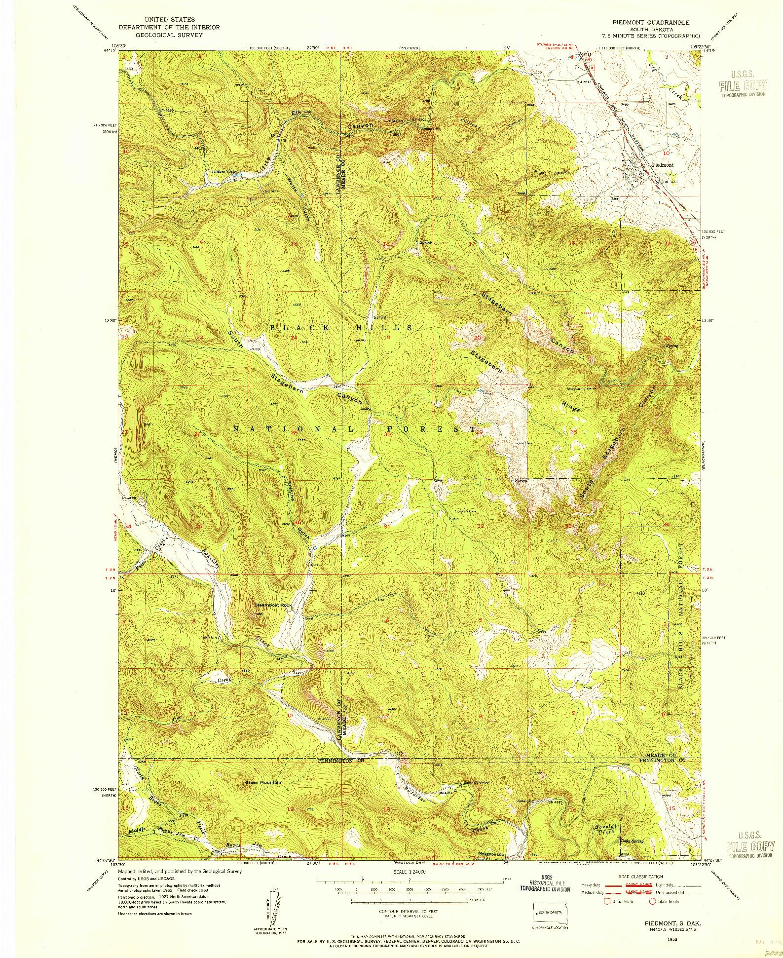 USGS 1:24000-SCALE QUADRANGLE FOR PIEDMONT, SD 1953