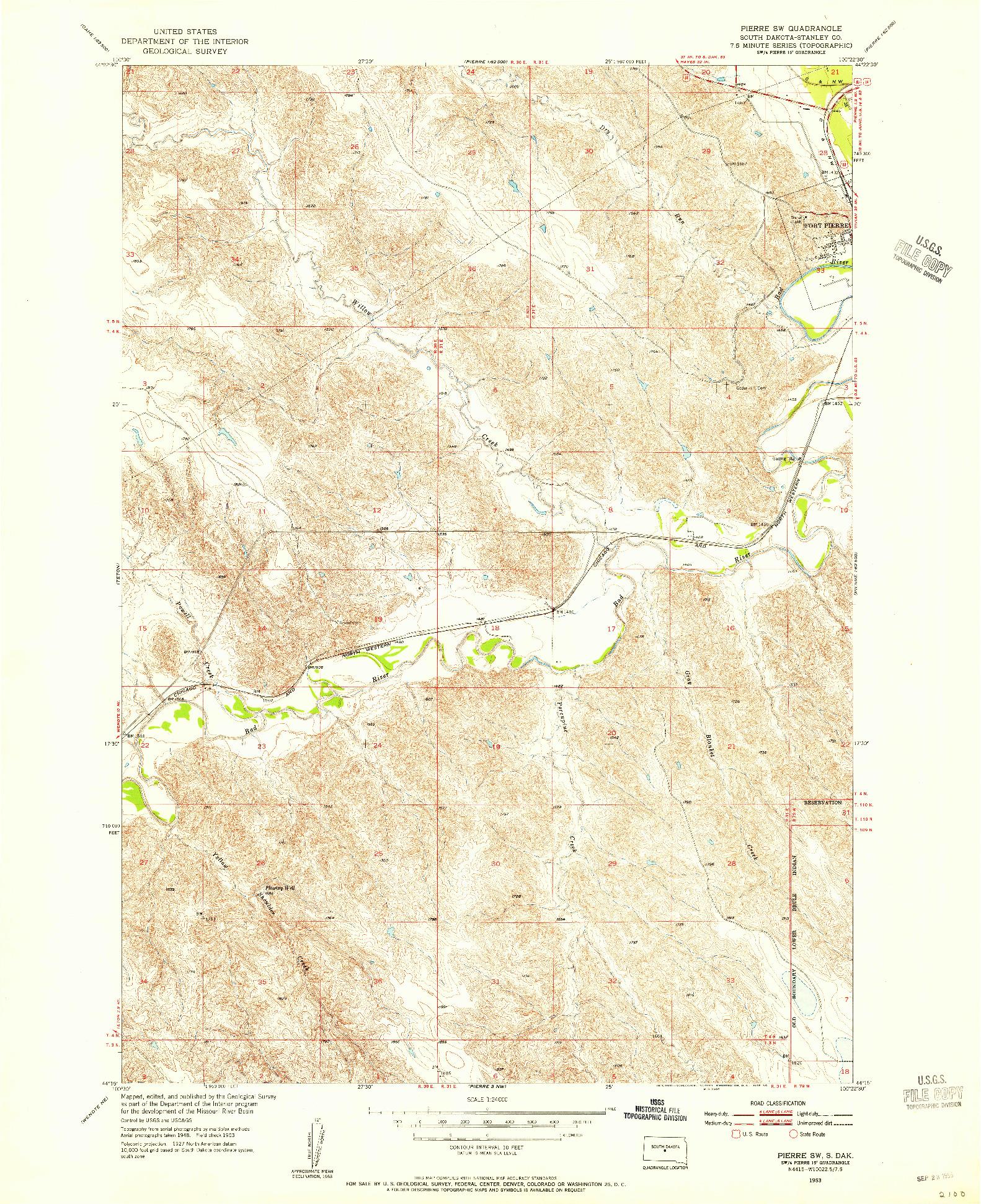 USGS 1:24000-SCALE QUADRANGLE FOR PIERRE SW, SD 1953