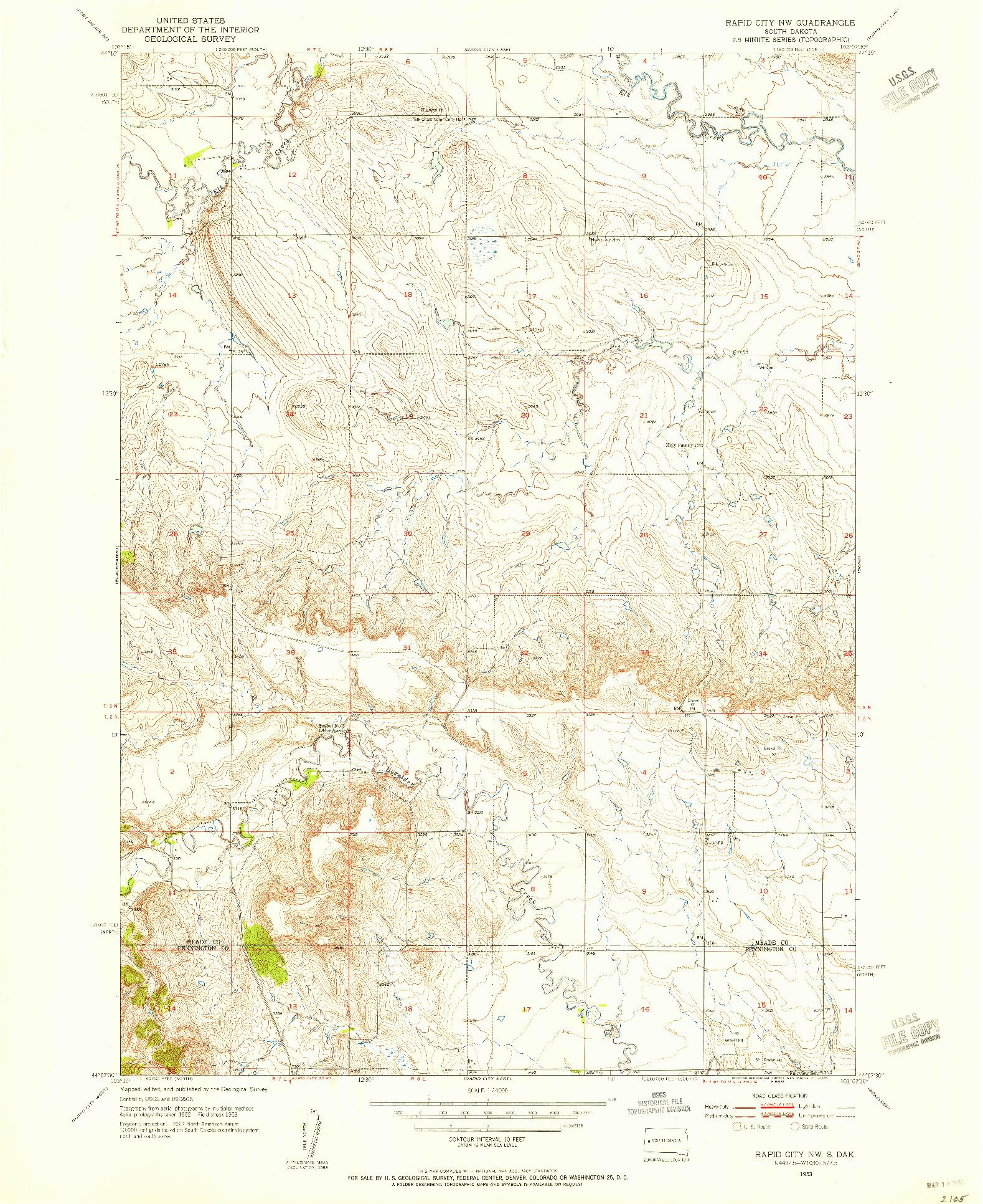 USGS 1:24000-SCALE QUADRANGLE FOR RAPID CITY NW, SD 1953