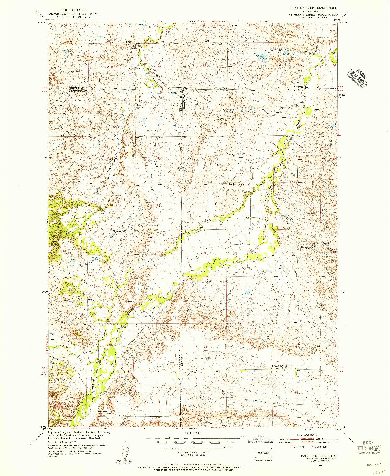 USGS 1:24000-SCALE QUADRANGLE FOR SAINT ONGE SE, SD 1954