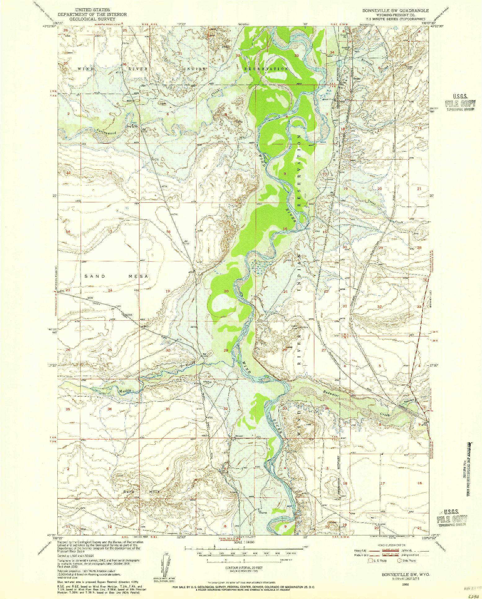 USGS 1:24000-SCALE QUADRANGLE FOR BONNEVILLE SW, WY 1950