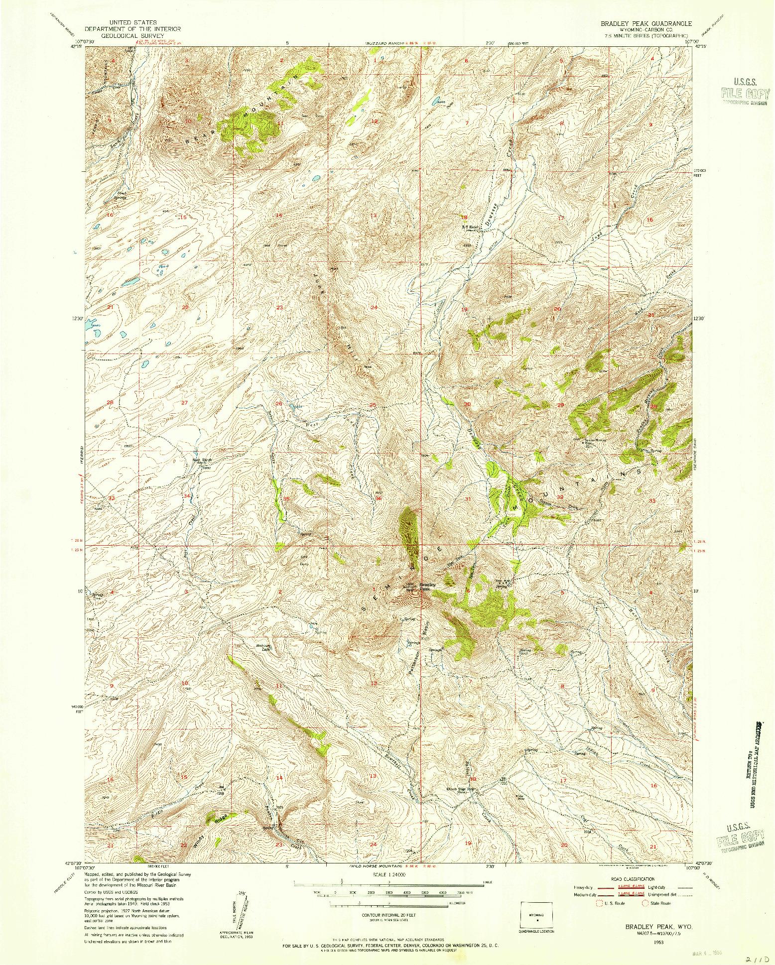 USGS 1:24000-SCALE QUADRANGLE FOR BRADLEY PEAK, WY 1953