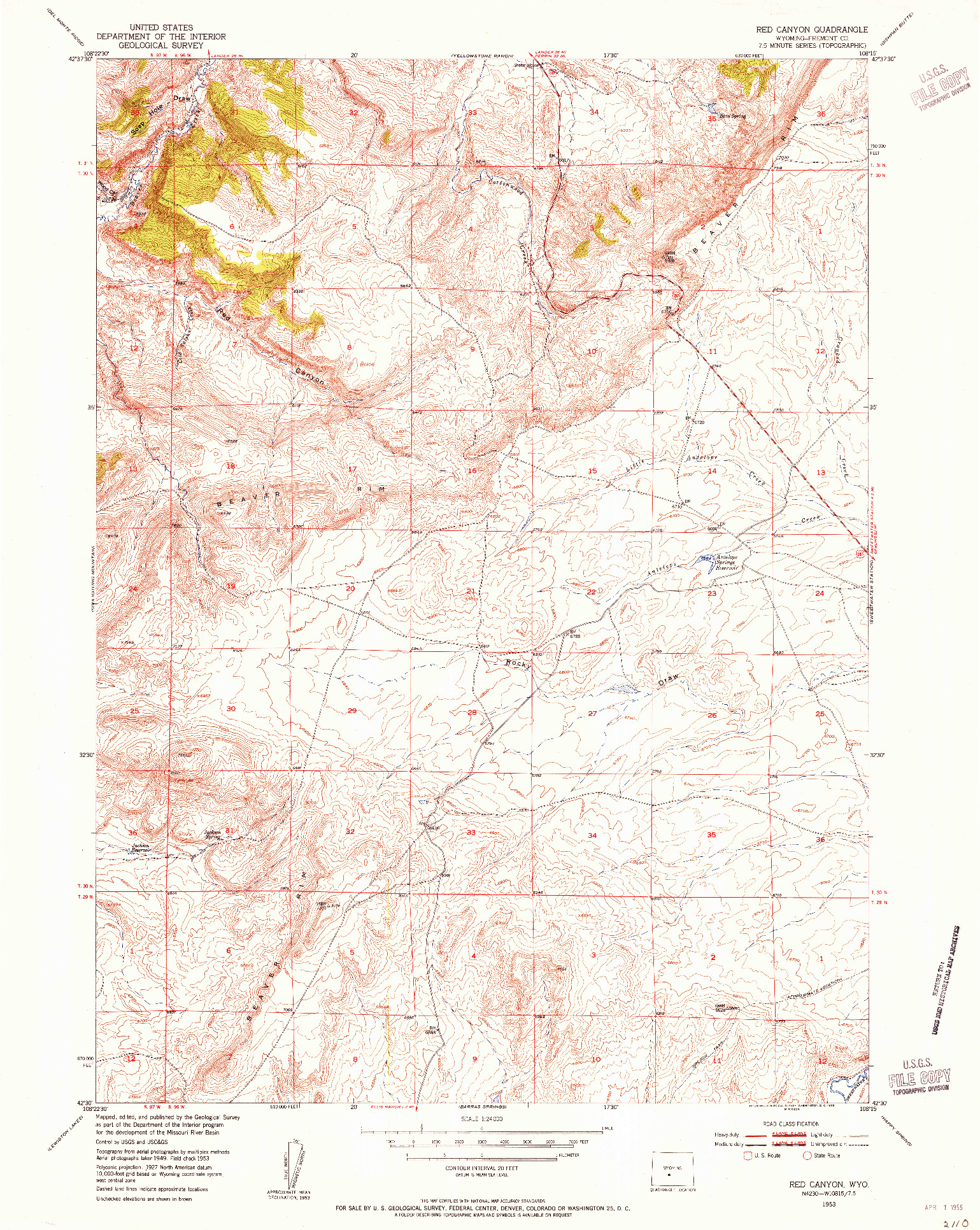 USGS 1:24000-SCALE QUADRANGLE FOR RED CANYON, WY 1953