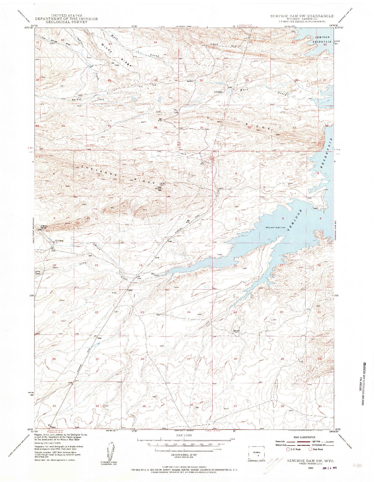 USGS 1:24000-SCALE QUADRANGLE FOR SEMINOE DAM SW, WY 1953