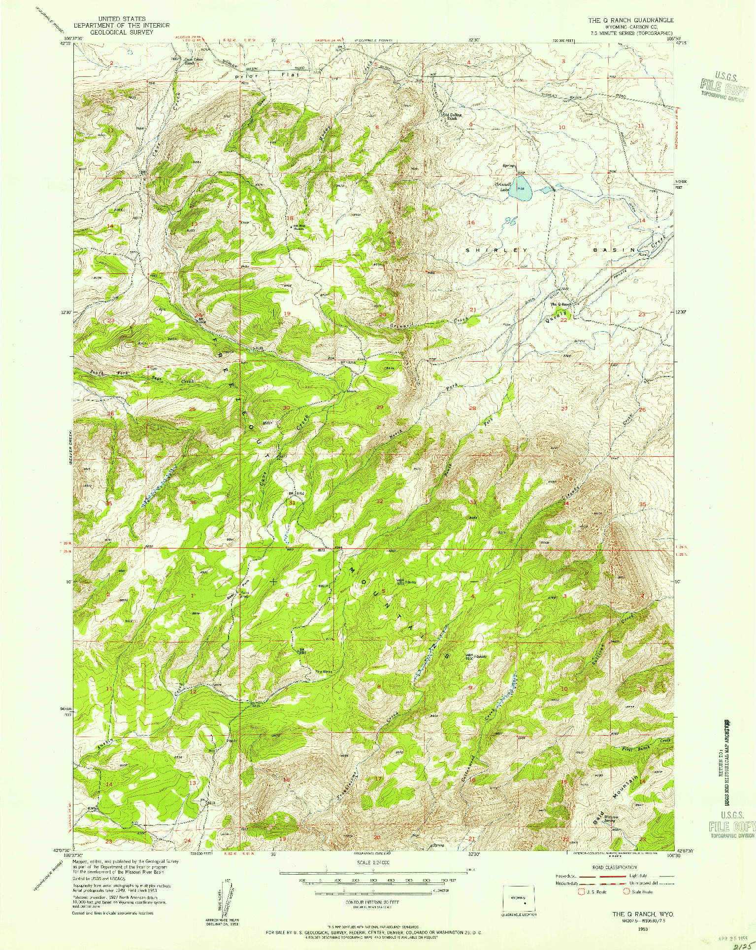 USGS 1:24000-SCALE QUADRANGLE FOR THE Q RANCH, WY 1953