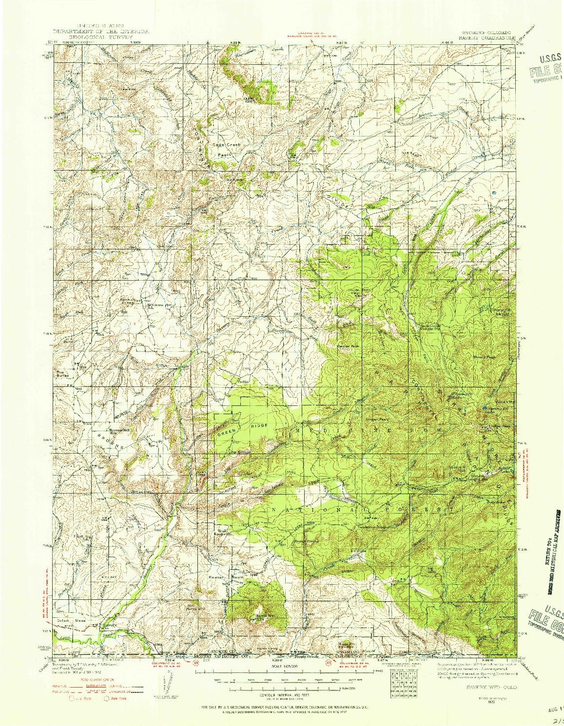 USGS 1:125000-SCALE QUADRANGLE FOR SAVERY, WY 1932