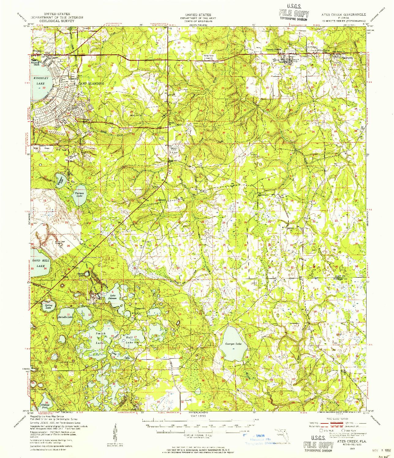 USGS 1:62500-SCALE QUADRANGLE FOR ATES CREEK, FL 1949