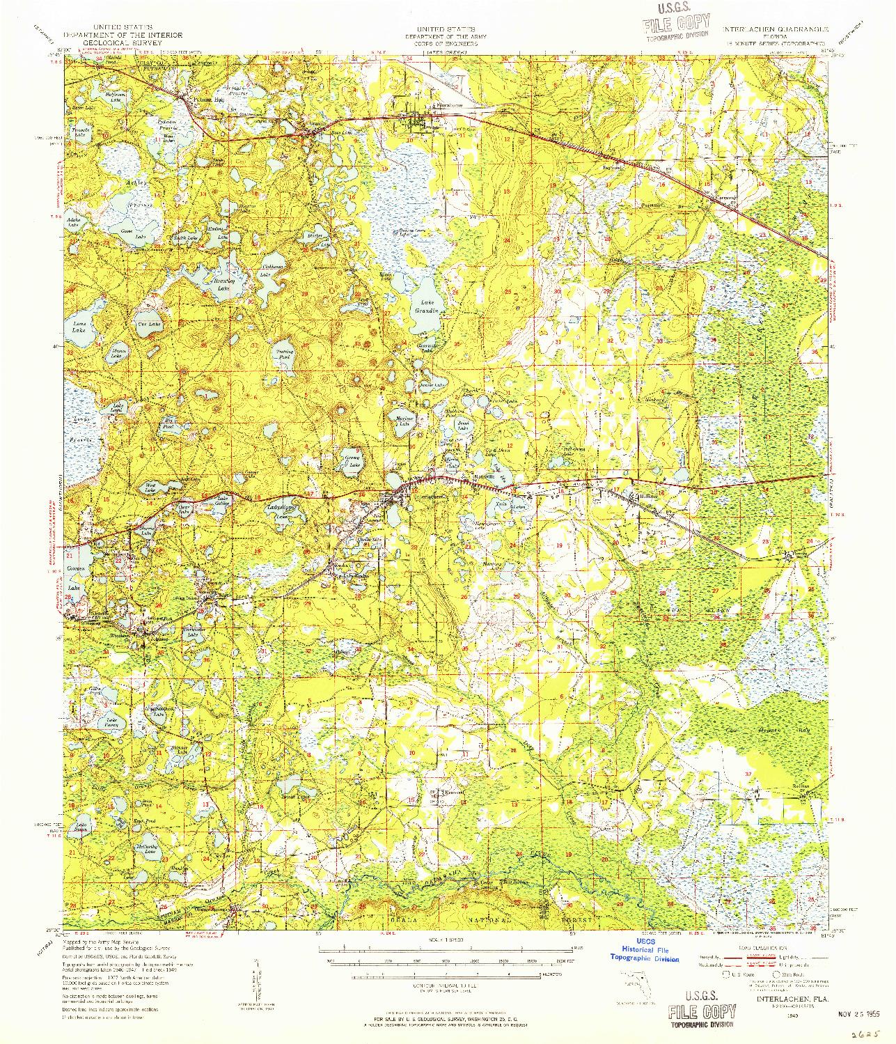USGS 1:62500-SCALE QUADRANGLE FOR INTERLACHEN, FL 1949