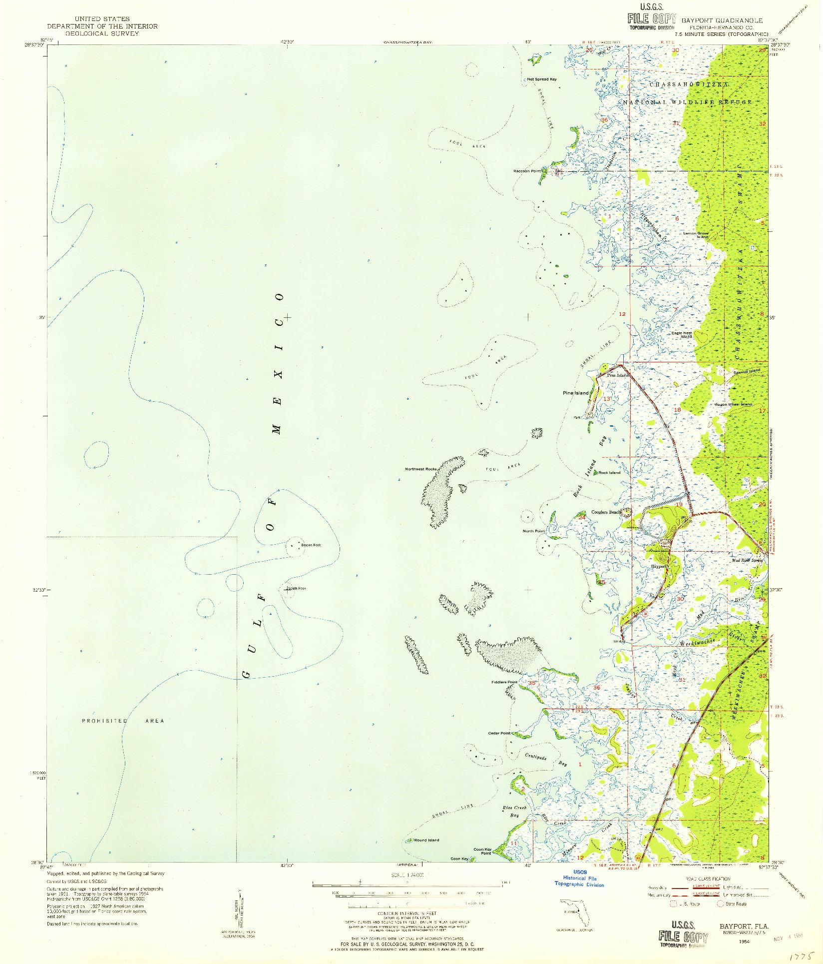USGS 1:24000-SCALE QUADRANGLE FOR BAYPORT, FL 1954