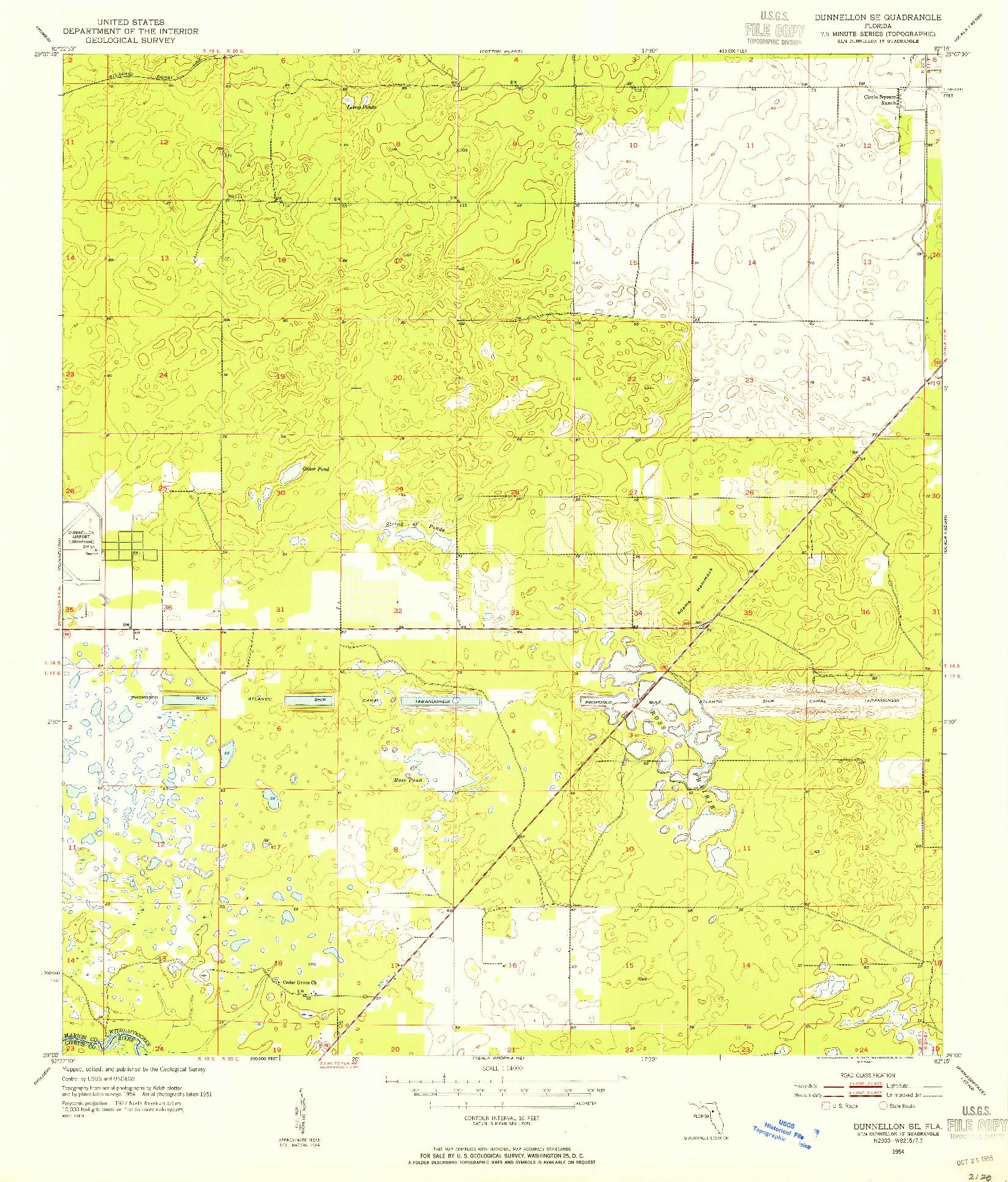 USGS 1:24000-SCALE QUADRANGLE FOR DUNNELLON SE, FL 1954