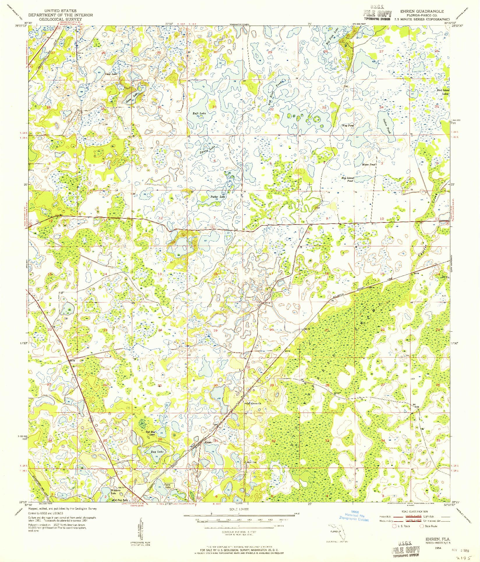 USGS 1:24000-SCALE QUADRANGLE FOR EHREN, FL 1954