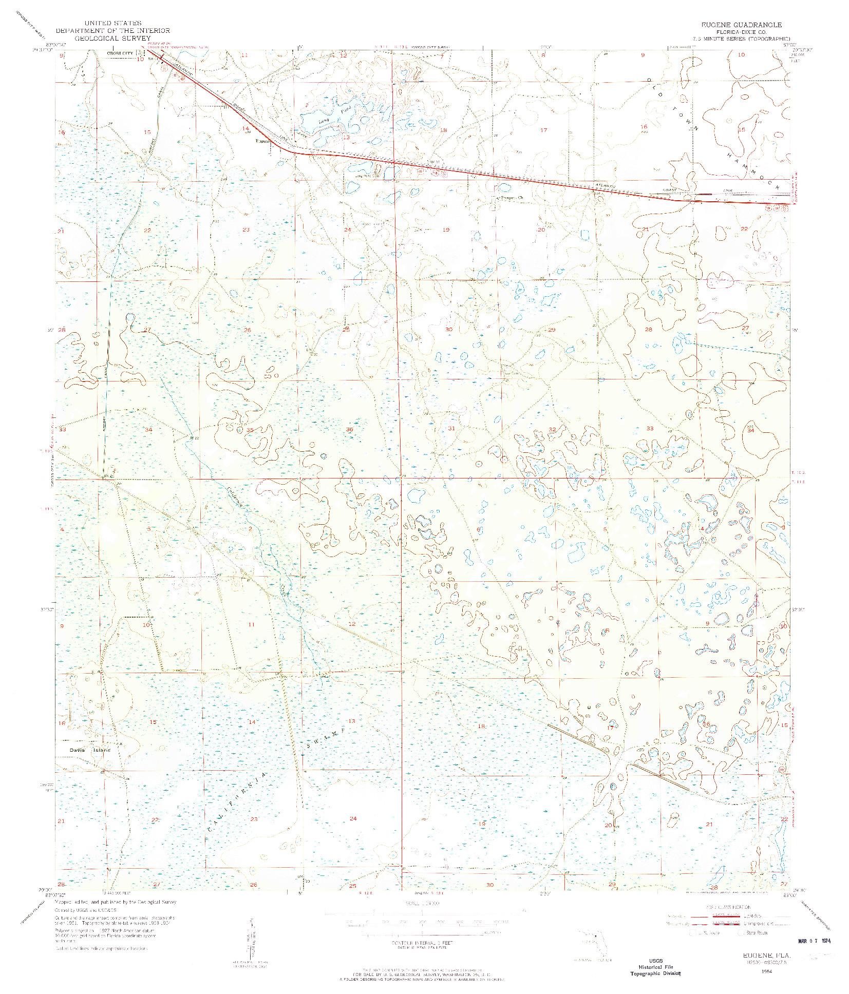 USGS 1:24000-SCALE QUADRANGLE FOR EUGENE, FL 1954