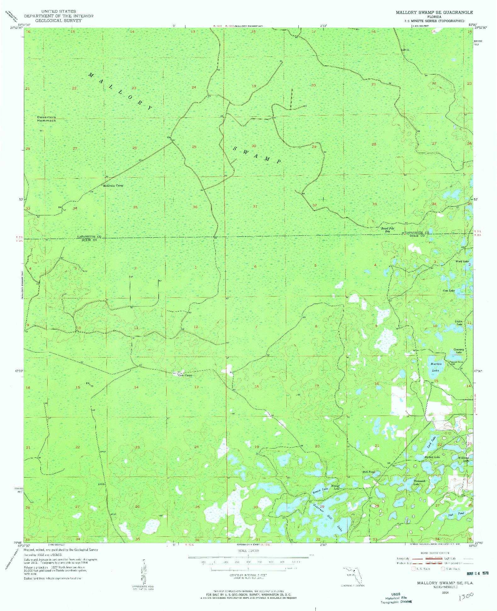 USGS 1:24000-SCALE QUADRANGLE FOR MALLORY SWAMP SE, FL 1954