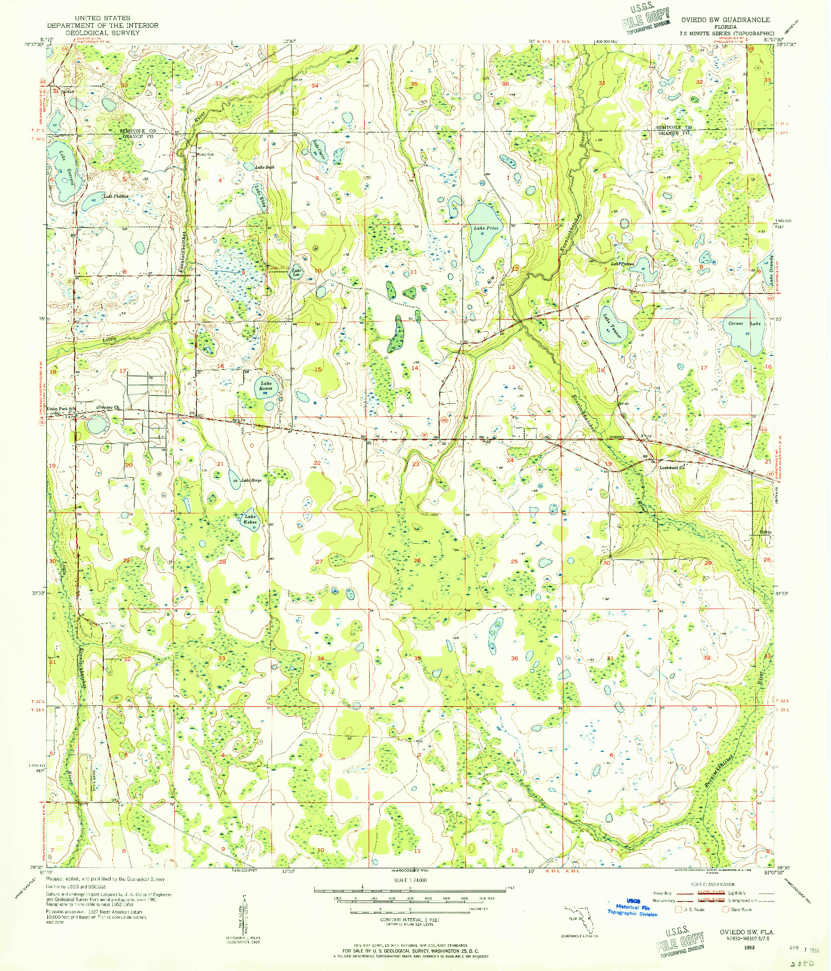 USGS 1:24000-SCALE QUADRANGLE FOR OVIEDO SW, FL 1953