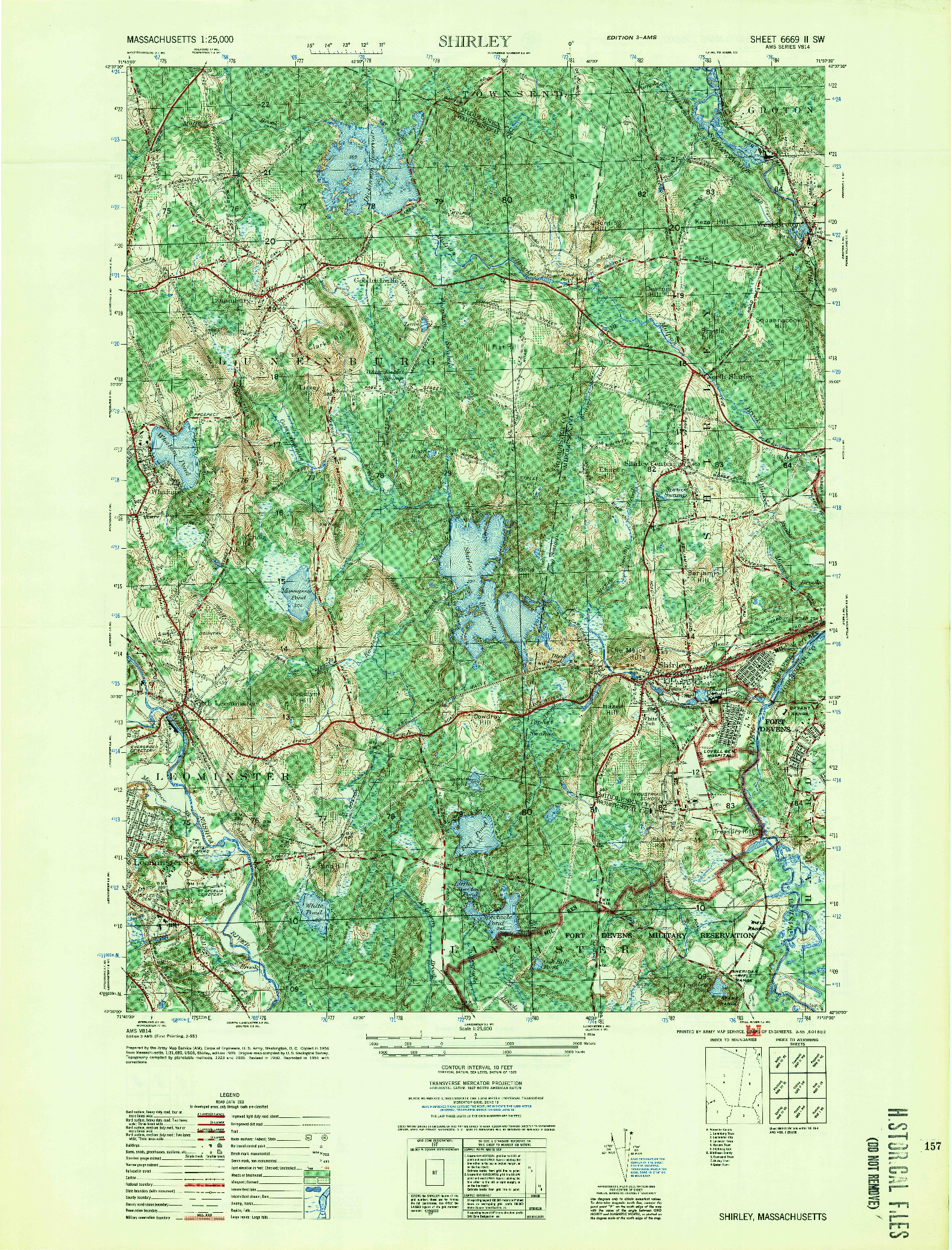 USGS 1:25000-SCALE QUADRANGLE FOR SHIRLEY, MA 1955