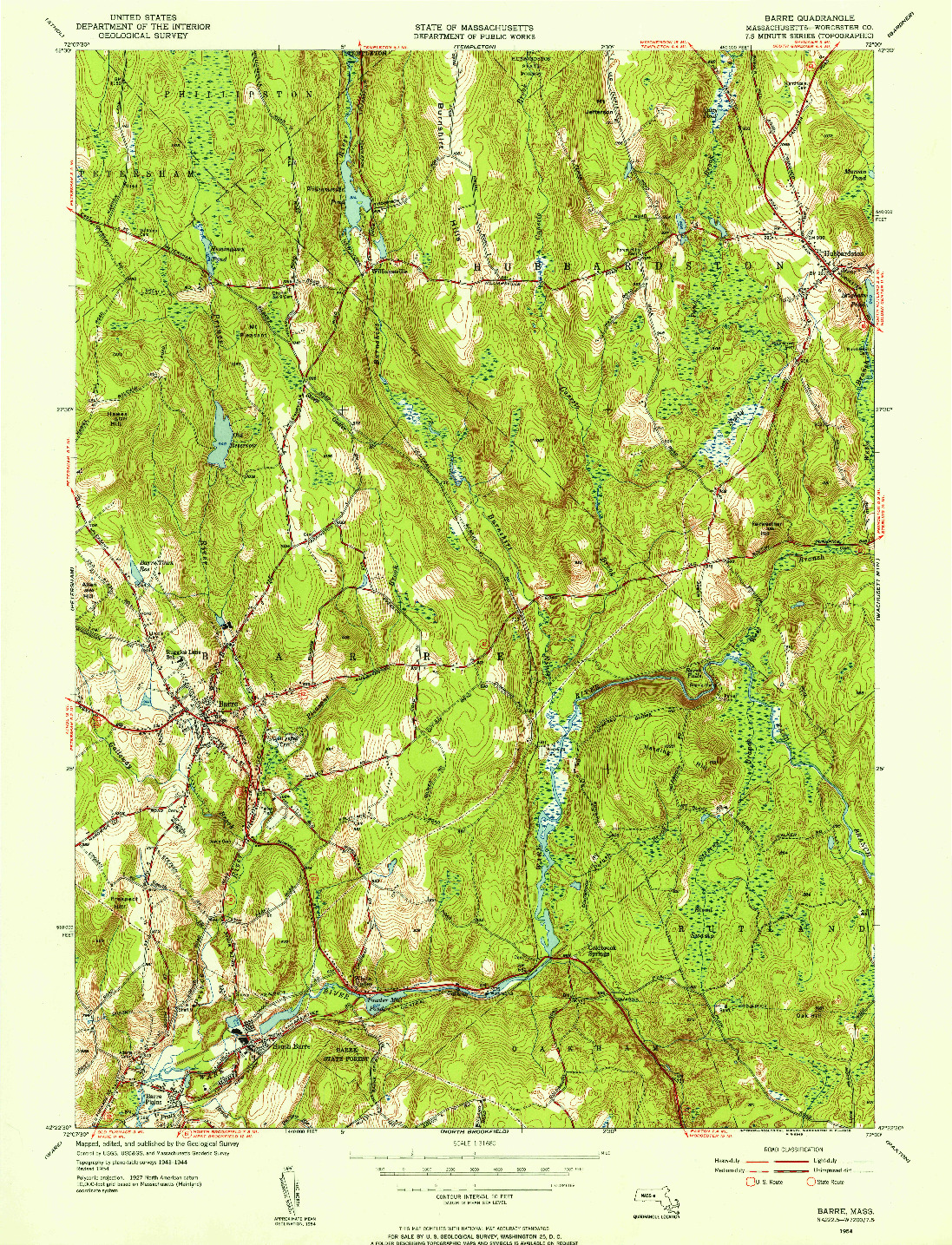 USGS 1:31680-SCALE QUADRANGLE FOR BARRE, MA 1954