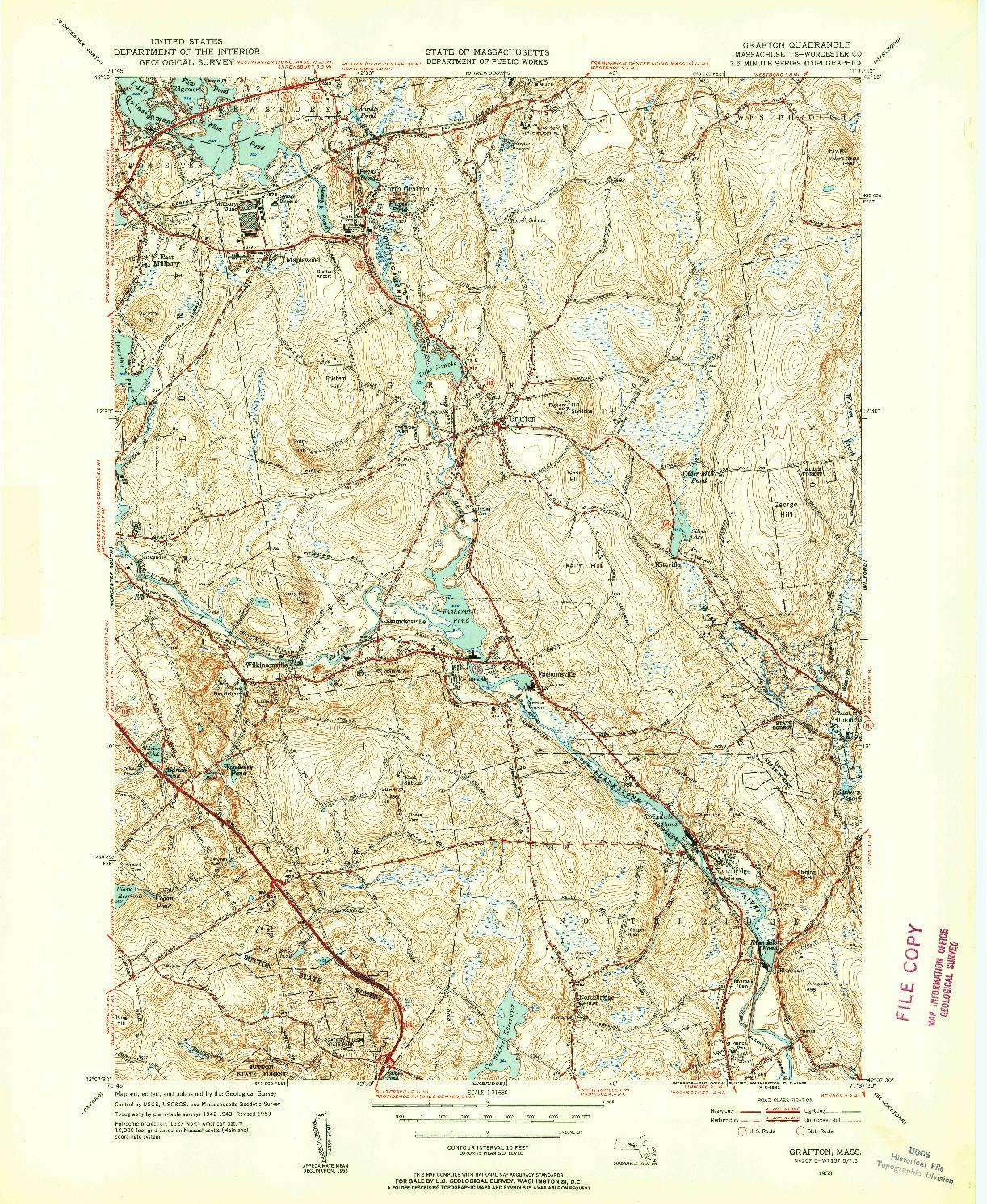 USGS 1:31680-SCALE QUADRANGLE FOR GRAFTON, MA 1953