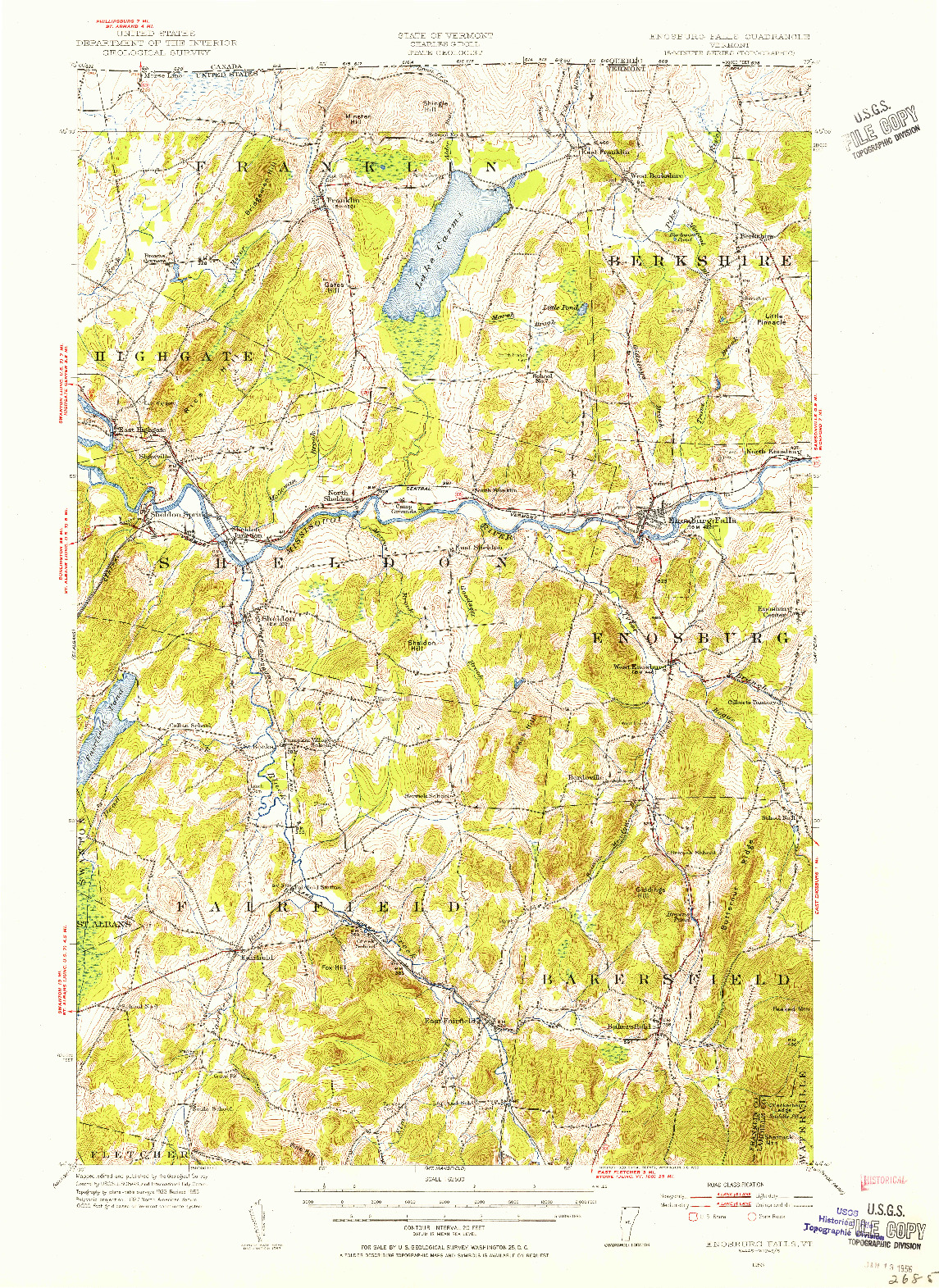 USGS 1:62500-SCALE QUADRANGLE FOR ENOSBURG FALLS, VT 1953