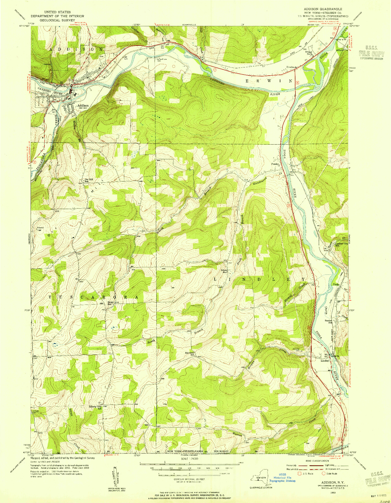 USGS 1:24000-SCALE QUADRANGLE FOR ADDISON, NY 1953