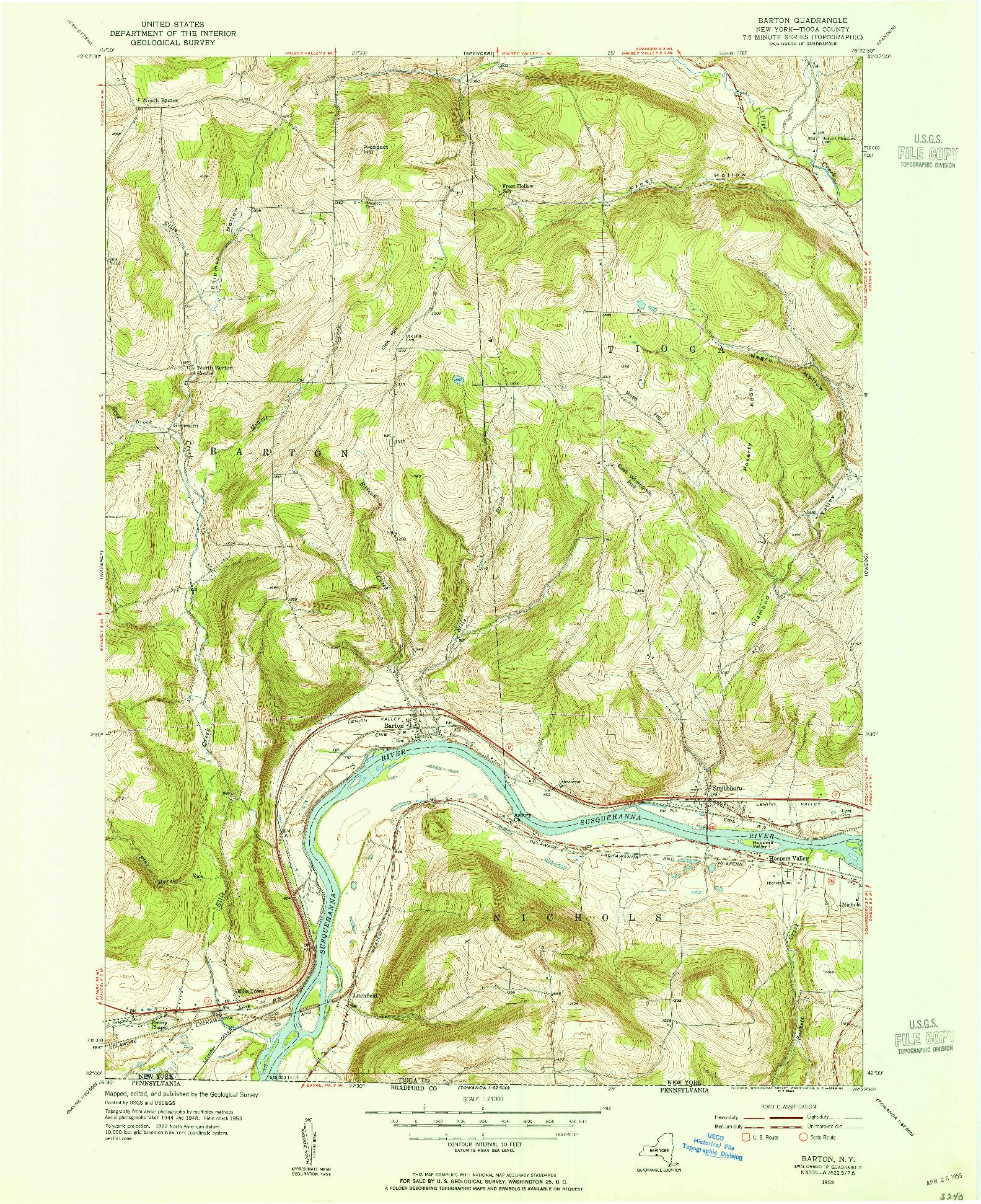 USGS 1:24000-SCALE QUADRANGLE FOR BARTON, NY 1953