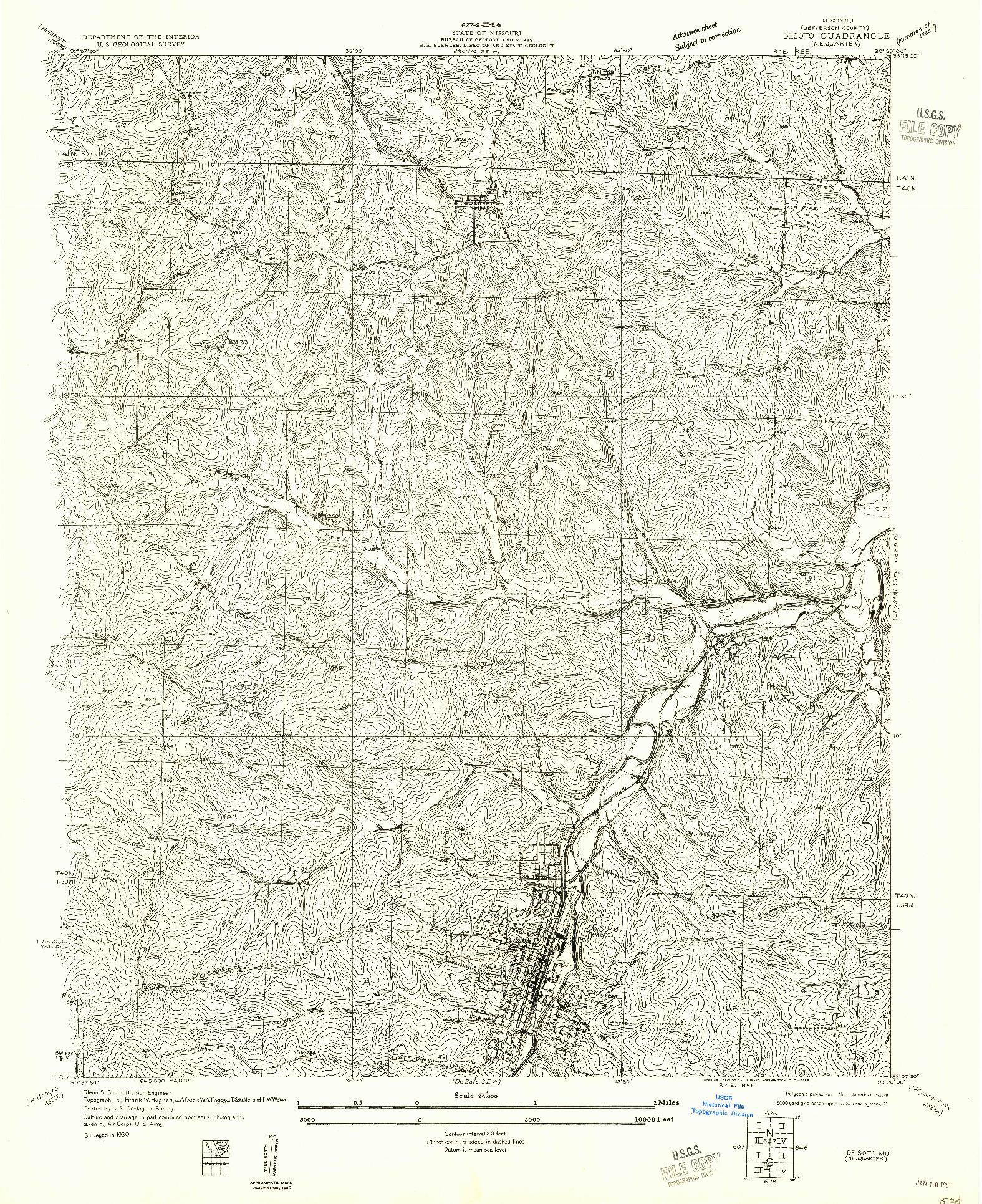 USGS 1:24000-SCALE QUADRANGLE FOR DE SOTO NE, MO 1955